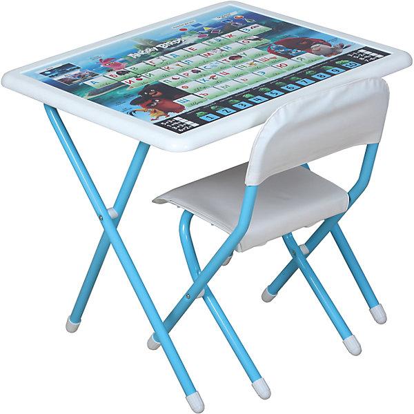 Набор складной мебели Энгри Бердс, ДэмиДетские столы и стулья<br>Набор складной мебели Энгри Бердс, Дэми.<br><br>Характеристики:<br><br>• Для детей в возрасте: от 3 до 7 лет<br>• В комплекте: складной стол и стульчик<br>• Материал: прочный пластик, металл, ЛДСП<br>• Цвет: белый, голубой<br>• Размер столешницы: 65х56 см.<br>• Высота стола: 58 см.<br>• Вес: 7 кг.<br><br>Комплект складной мебели 3 ростовой группы (для детей 3-7 лет) прекрасно впишется в интерьер любой детской. Стол, фактически, представляет собой 3 в 1: можно играть, можно есть, можно обучаться! На поверхность столешницы нанесены обучающие рисунки и любимые персонажи компьютерной игры Энгри Бердс, а по периметру размещен безопасный бампер. Ваш ребенок выучит алфавит и цифры от 1 до 10, научится решать простые примеры, познакомится с геометрическими фигурами, узнает о частях суток (день, ночь). Все материалы, используемые при изготовлении набора, соответствуют ГОСТам, и абсолютно безопасны для здоровья Вашего малыша. Рабочая поверхность стола, сиденье и спинка стула сделаны из прочной пластмассы, края закруглены.  Устойчивые металлические ножки имеют пластмассовые заглушки. Кроме этого, за мебелью очень легко ухаживать. Вы сможете приучать ребенка к порядку с самых ранних лет. Детям наверняка очень понравится этот комплект - настоящий детский рабочий кабинет, а родители, несомненно, оценят его компактность.<br><br>Набор складной мебели Энгри Бердс, Дэми можно купить в нашем интернет-магазине.<br>Ширина мм: 770; Глубина мм: 740; Высота мм: 140; Вес г: 8000; Возраст от месяцев: 36; Возраст до месяцев: 84; Пол: Унисекс; Возраст: Детский; SKU: 5569672;