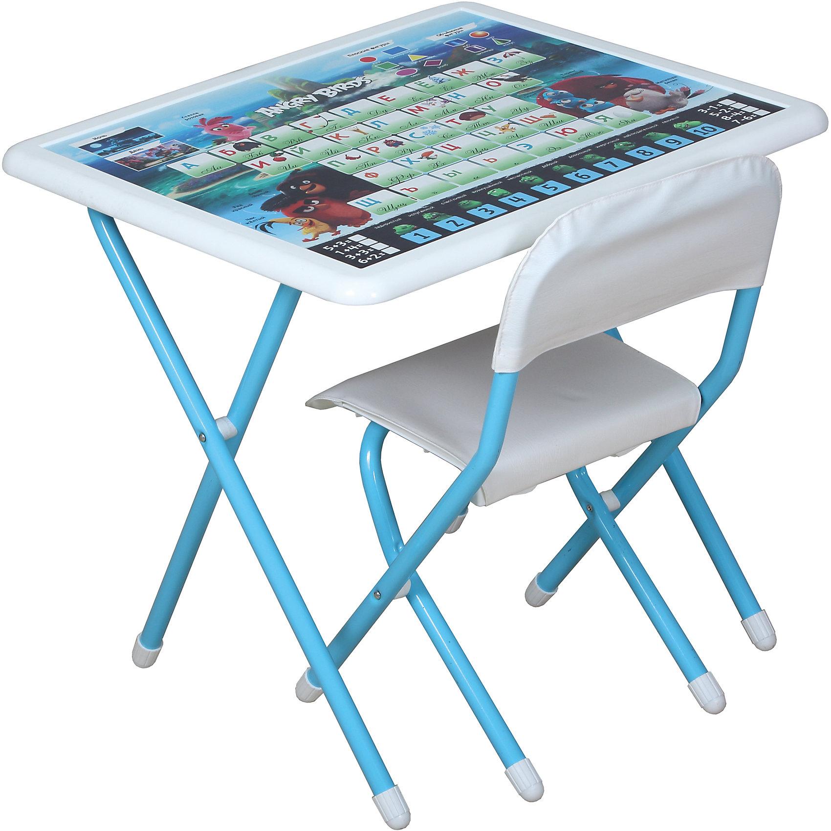 Набор складной мебели Энгри Бердс, ДэмиМебель<br>Набор складной мебели Энгри Бердс, Дэми.<br><br>Характеристики:<br><br>• Для детей в возрасте: от 3 до 7 лет<br>• В комплекте: складной стол и стульчик<br>• Материал: прочный пластик, металл, ЛДСП<br>• Цвет: белый, голубой<br>• Размер столешницы: 65х56 см.<br>• Высота стола: 58 см.<br>• Вес: 7 кг.<br><br>Комплект складной мебели 3 ростовой группы (для детей 3-7 лет) прекрасно впишется в интерьер любой детской. Стол, фактически, представляет собой 3 в 1: можно играть, можно есть, можно обучаться! На поверхность столешницы нанесены обучающие рисунки и любимые персонажи компьютерной игры Энгри Бердс, а по периметру размещен безопасный бампер. Ваш ребенок выучит алфавит и цифры от 1 до 10, научится решать простые примеры, познакомится с геометрическими фигурами, узнает о частях суток (день, ночь). Все материалы, используемые при изготовлении набора, соответствуют ГОСТам, и абсолютно безопасны для здоровья Вашего малыша. Рабочая поверхность стола, сиденье и спинка стула сделаны из прочной пластмассы, края закруглены.  Устойчивые металлические ножки имеют пластмассовые заглушки. Кроме этого, за мебелью очень легко ухаживать. Вы сможете приучать ребенка к порядку с самых ранних лет. Детям наверняка очень понравится этот комплект - настоящий детский рабочий кабинет, а родители, несомненно, оценят его компактность.<br><br>Набор складной мебели Энгри Бердс, Дэми можно купить в нашем интернет-магазине.<br><br>Ширина мм: 770<br>Глубина мм: 740<br>Высота мм: 140<br>Вес г: 8000<br>Возраст от месяцев: 36<br>Возраст до месяцев: 84<br>Пол: Унисекс<br>Возраст: Детский<br>SKU: 5569672