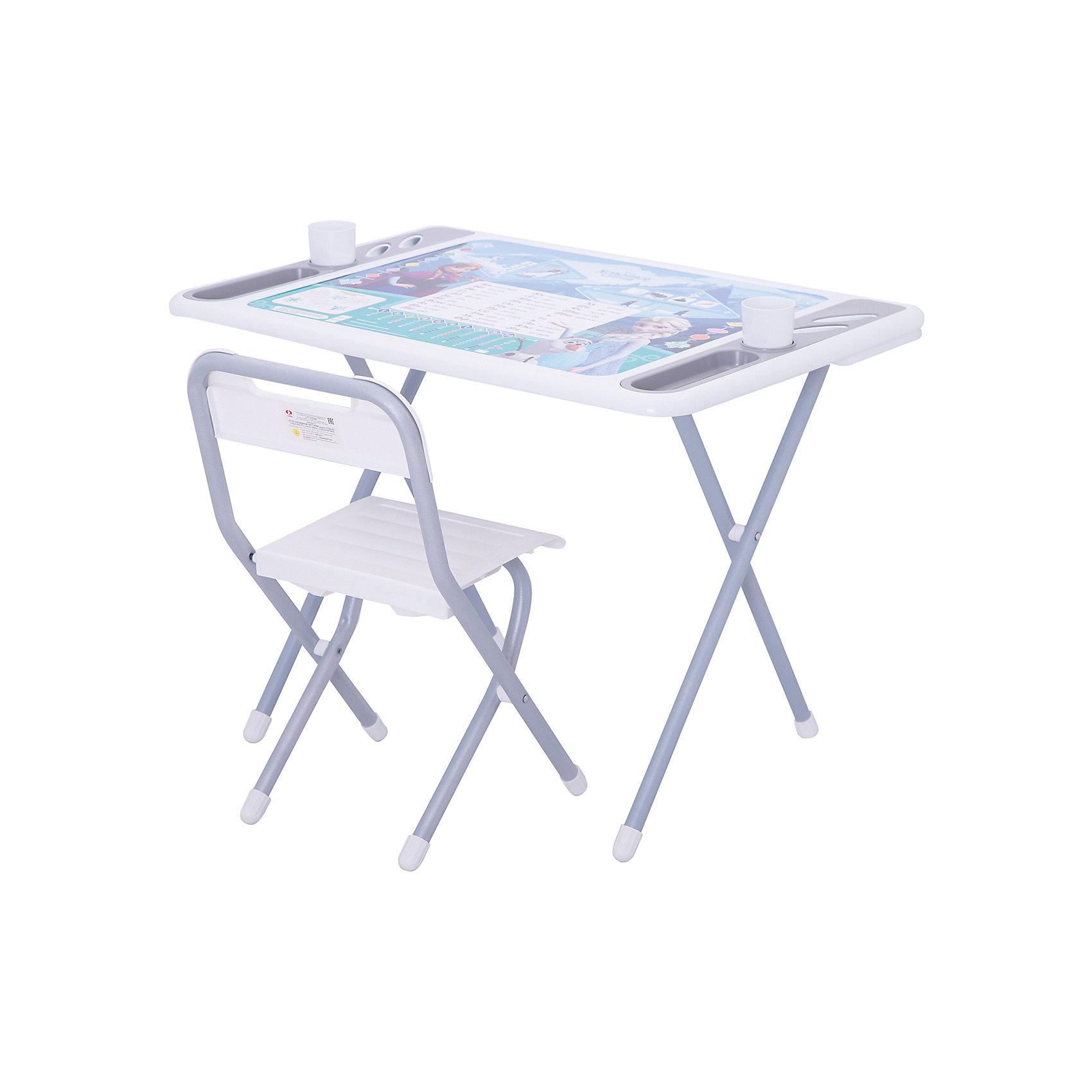 Набор складной мебели Холодное сердце, ДэмиМебель<br>Набор складной мебели Холодное сердце, Дэми.<br><br>Характеристики:<br><br>• Для детей в возрасте: от 3 до 7 лет<br>• В комплекте: складной стол и стульчик<br>• Материал: прочный пластик, металл<br>• Высота стола: 58 см.<br>• Размер упаковки: 82х79х14 см.<br>• Вес: 10,2 кг.<br><br>Комплект складной мебели 3 ростовой группы (для детей 3-7 лет) прекрасно впишется в интерьер любой детской. Стол, фактически, представляет собой 3 в 1: можно играть, можно есть, можно обучаться! На поверхность столешницы нанесены обучающие рисунки и любимые персонажи мультсериала Холодное сердце. Ваш ребенок выучит алфавит и цифры от 1 до 10, познакомится с цветами и геометрическими фигурами. По краям столешницы расположены органайзеры для канцелярских принадлежностей, а также пазы-держатели для стаканчиков. Все материалы, используемые при изготовлении набора, соответствуют ГОСТам, и абсолютно безопасны для здоровья Вашего малыша. Рабочая поверхность стола, сиденье и спинка стула сделаны из прочной пластмассы, края закруглены. Устойчивые металлические ножки имеют пластмассовые заглушки. Кроме этого, за мебелью очень легко ухаживать. Вы сможете приучать ребенка к порядку с самых ранних лет. Детям наверняка очень понравится этот комплект - настоящий детский рабочий кабинет, а родители, несомненно, оценят его компактность.<br><br>Набор складной мебели Холодное сердце, Дэми можно купить в нашем интернет-магазине.<br><br>Ширина мм: 820<br>Глубина мм: 790<br>Высота мм: 140<br>Вес г: 10200<br>Возраст от месяцев: 36<br>Возраст до месяцев: 84<br>Пол: Унисекс<br>Возраст: Детский<br>SKU: 5569673
