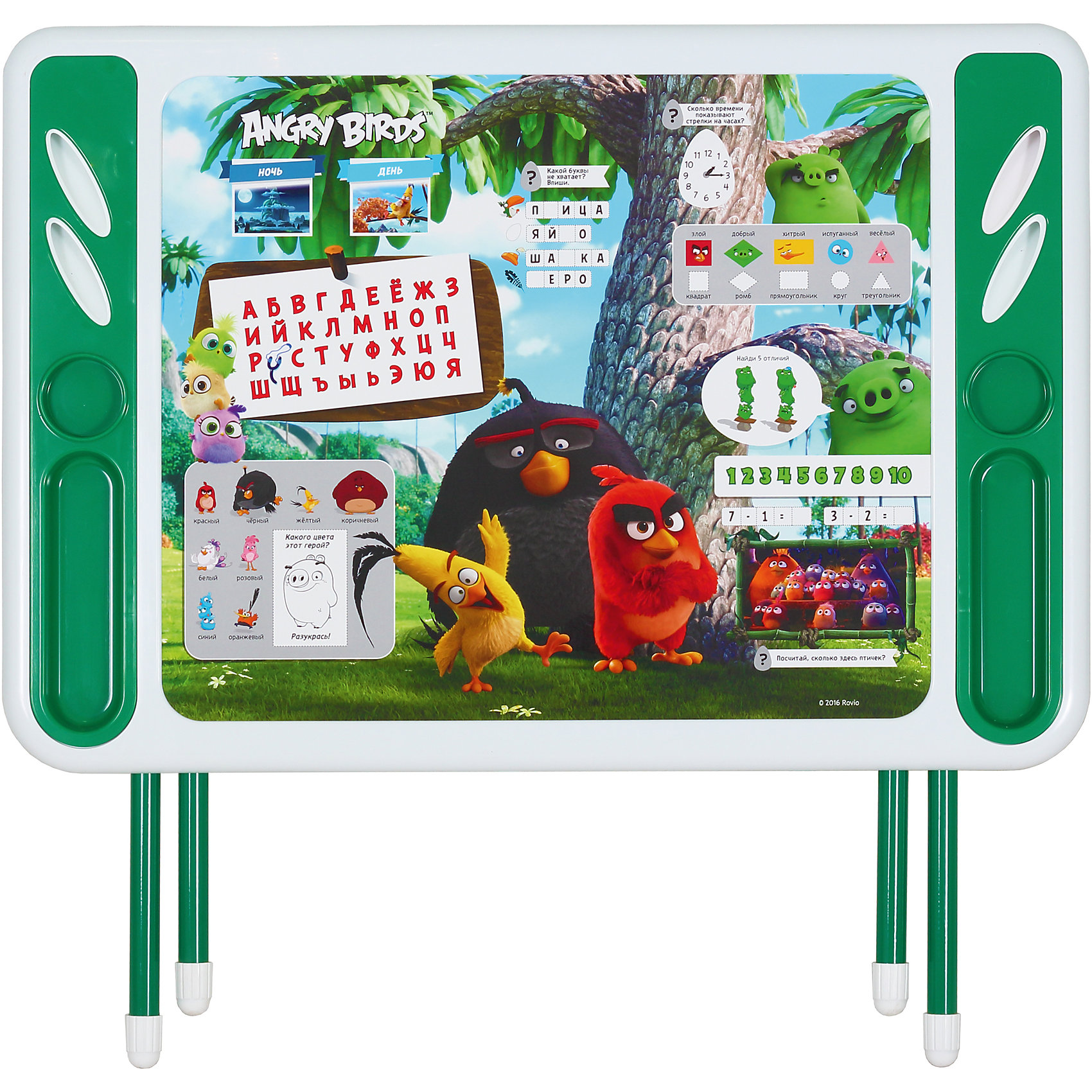 Набор складной мебели Энгри бердс, ДэмиМебель<br>Набор складной мебели Энгри бердс, Дэми.<br><br>Характеристики:<br><br>• Для детей в возрасте: от 3 до 7 лет<br>• В комплекте: складной стол и стульчик<br>• Материал: прочный пластик, металл<br>• Высота стола: 58 см.<br>• Размер упаковки: 82х79х14 см.<br>• Вес: 10,2 кг.<br><br>Комплект складной мебели 3 ростовой группы (для детей 3-7 лет) прекрасно впишется в интерьер любой детской. Стол, фактически, представляет собой 3 в 1: можно играть, можно есть, можно обучаться! На поверхность столешницы нанесены обучающие рисунки и любимые персонажи компьютерной игры Энгри бердс . Ваш ребенок выучит алфавит и цифры от 1 до 10, познакомится с геометрическими фигурами, узнает о частях суток (день, ночь). По краям столешницы расположены органайзеры для канцелярских принадлежностей, а также пазы-держатели для стаканчиков. Все материалы, используемые при изготовлении набора, соответствуют ГОСТам, и абсолютно безопасны для здоровья Вашего малыша. Рабочая поверхность стола, сиденье и спинка стула сделаны из прочной пластмассы, края закруглены. Устойчивые металлические ножки имеют пластмассовые заглушки. Кроме этого, за мебелью очень легко ухаживать. Вы сможете приучать ребенка к порядку с самых ранних лет. Детям наверняка очень понравится этот комплект - настоящий детский рабочий кабинет, а родители, несомненно, оценят его компактность.<br><br>Набор складной мебели Энгри бердс, Дэми можно купить в нашем интернет-магазине.<br><br>Ширина мм: 820<br>Глубина мм: 790<br>Высота мм: 140<br>Вес г: 10200<br>Возраст от месяцев: 36<br>Возраст до месяцев: 84<br>Пол: Унисекс<br>Возраст: Детский<br>SKU: 5569674