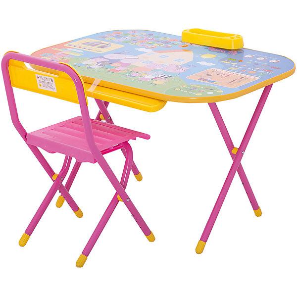 Набор складной мебели у2р/1, ДэмиДетские столы и стулья<br>Набор складной мебели у2р/1, Дэми.<br><br>Характеристики:<br><br>• Для детей в возрасте: от 3 до 7 лет<br>• В комплекте: складной стол и стульчик<br>• Материал: прочный пластик, металл<br>• Размер упаковки: 82х79х14 см.<br>• Вес: 10,2 кг.<br><br>Комплект складной мебели прекрасно впишется в интерьер любой детской. Стол, фактически, представляет собой 3 в 1: можно играть, можно есть, можно обучаться! На поверхность столешницы нанесены обучающие рисунки и любимые персонажи мультсериала Свинка Пеппа. Ваш ребенок выучит алфавит и цифры от 0 до 10, научится решать простые примеры и определять время, познакомится с цветами. По краю столешницы идёт желоб для карандашей, ручек и кисточек. Есть удобный пенал для карандашей и ручек. Все материалы, используемые при изготовлении набора, соответствуют ГОСТам, и абсолютно безопасны для здоровья Вашего малыша. Рабочая поверхность стола, сиденье и спинка стула сделаны из прочной пластмассы, края закруглены. Устойчивые металлические ножки имеют пластмассовые заглушки. Кроме этого, за мебелью очень легко ухаживать. Вы сможете приучать ребенка к порядку с самых ранних лет. Детям наверняка очень понравится этот комплект - настоящий детский рабочий кабинет, а родители, несомненно, оценят его компактность.<br><br>Набор складной мебели у2р/1, Дэми можно купить в нашем интернет-магазине.<br><br>Ширина мм: 820<br>Глубина мм: 790<br>Высота мм: 140<br>Вес г: 10200<br>Возраст от месяцев: 36<br>Возраст до месяцев: 84<br>Пол: Унисекс<br>Возраст: Детский<br>SKU: 5569675