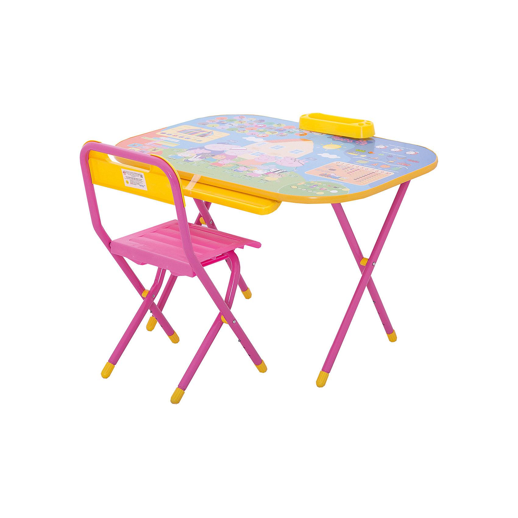 Набор складной мебели у2р/1, ДэмиМебель<br>Набор складной мебели у2р/1, Дэми.<br><br>Характеристики:<br><br>• Для детей в возрасте: от 3 до 7 лет<br>• В комплекте: складной стол и стульчик<br>• Материал: прочный пластик, металл<br>• Размер упаковки: 82х79х14 см.<br>• Вес: 10,2 кг.<br><br>Комплект складной мебели прекрасно впишется в интерьер любой детской. Стол, фактически, представляет собой 3 в 1: можно играть, можно есть, можно обучаться! На поверхность столешницы нанесены обучающие рисунки и любимые персонажи мультсериала Свинка Пеппа. Ваш ребенок выучит алфавит и цифры от 0 до 10, научится решать простые примеры и определять время, познакомится с цветами. По краю столешницы идёт желоб для карандашей, ручек и кисточек. Есть удобный пенал для карандашей и ручек. Все материалы, используемые при изготовлении набора, соответствуют ГОСТам, и абсолютно безопасны для здоровья Вашего малыша. Рабочая поверхность стола, сиденье и спинка стула сделаны из прочной пластмассы, края закруглены. Устойчивые металлические ножки имеют пластмассовые заглушки. Кроме этого, за мебелью очень легко ухаживать. Вы сможете приучать ребенка к порядку с самых ранних лет. Детям наверняка очень понравится этот комплект - настоящий детский рабочий кабинет, а родители, несомненно, оценят его компактность.<br><br>Набор складной мебели у2р/1, Дэми можно купить в нашем интернет-магазине.<br><br>Ширина мм: 820<br>Глубина мм: 790<br>Высота мм: 140<br>Вес г: 10200<br>Возраст от месяцев: 36<br>Возраст до месяцев: 84<br>Пол: Унисекс<br>Возраст: Детский<br>SKU: 5569675