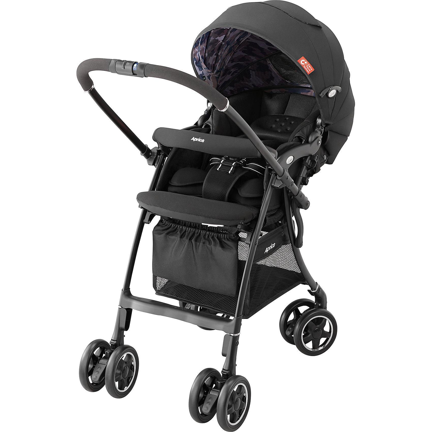 Прогулочная коляска Aprica Luxuna CTS, чёрныйПрогулочные коляски<br>Характеристики прогулочной коляски Aprica Luxuna CTS<br><br>Прогулочный блок:<br><br>• регулируемые по длине и высоте 5-ти точечные ремни безопасности;<br>• регулируемый наклон спинки, система ремешков, угол наклона 120-170 градусов;<br>• наличие анатомических вкладышей дает возможность использовать коляску с первых дней жизни малыша;<br>• имеется выдвижная подножка с двумя сменными положениями, а также, пластиковая подножка для подросшего малыша;<br>• капюшон глубокий, надежно защищает малыша;<br>• капюшон раскладывается практически до бампера;<br>• на капюшоне имеются два сетчатых смотровых окошка под клапанами;<br>• высокая посадка ребенка в коляске;<br>• бампер можно отвести в сторону для удобной посадки ребенка;<br>• имеются отражатели солнечных лучей, которые обеспечивают терморегуляцию;<br>• сиденье и капюшон выполнены из дышащих материалов.<br><br>Размеры прогулочного блока:<br><br>ширина сиденья: 31 см;<br>высота посадки: 53 см.<br><br>Шасси коляски:<br><br>• перекидная ручка коляски;<br>• сдвоенные колеса коляски, 4 пары, всего 8 шт.;<br>• диаметр колес: 14 см;<br>• ведущие колеса - поворотные с блокировкой;<br>• при перекидывании ручки тип поворотных колес меняется: передние разблокированы, задние колеса заблокированы;<br>• амортизация;<br>• тип тормоза: ножной, отдельно на каждой паре колес;<br>• нагрузка на корзину: 5 кг, объем 20 л;<br>• механизм складывания: книжка;<br>• коляска складывается одной рукой, сохраняет вертикальное положение;<br>• рама складывается вместе с прогулочным блоком;<br>• материал рамы: алюминий.<br><br>Размер коляски: 46х85/98,5х101 см<br>Размер коляски в сложенном виде: 98х45х34 см<br>Вес коляски: 5,3 кг<br>Вес в упаковке: 7,1 кг<br><br>Комплектация:<br><br>• прогулочная коляска Luxuna CTS;<br>• анатомические вкладыши;<br>• корзина для покупок;<br>• инструкция.<br><br>Прогулочную коляску Luxuna CTS, Aprica, цвет чёрный можно купить в нашем интернет-магазине.<br