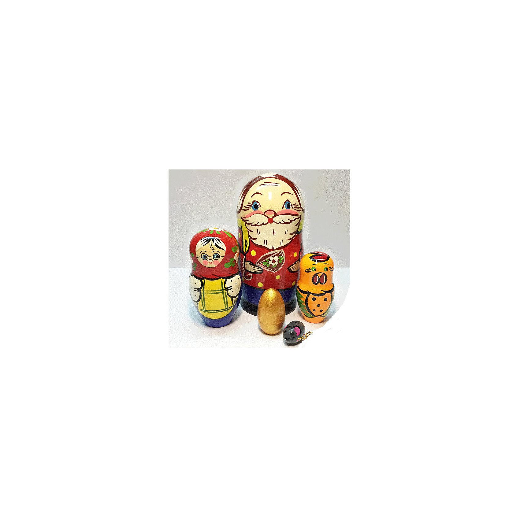 Матрешка Сказка-Курочка Ряба 5 кукольная 14 смДеревянные куклы, домики и мебель<br>Матрешка Сказка-Курочка Ряба 5 кукольная 14 см<br><br>Характеристики:<br><br>• в комплекте: 5 фигурок<br>• материал: дерево<br>• высота большой матрешки: 14 см<br>• размер упаковки: 14х6х6 см<br>• вес: 375 грамм<br><br>Матрешка Курочка Ряба замечательно подойдет для небольшого домашнего спектакля. В комплект входят пять матрешек разных размеров. Самая большая матрешка - дед; матрешка поменьше - баба; средняя матрешка - курочка; четвертая - яйцо; и самая маленькая - мышка. Все они изготовлены из дерева и выполнены по принципу классической матрешки. Ребенок сможет воссоздать любимые сценки из сказки или придумать новый сюжет для знакомых героев.<br><br>Матрешку Сказка-Курочка Ряба 5 кукольную 14 см можно купить в нашем интернет-магазине.<br><br>Ширина мм: 60<br>Глубина мм: 60<br>Высота мм: 140<br>Вес г: 375<br>Возраст от месяцев: 36<br>Возраст до месяцев: 2147483647<br>Пол: Унисекс<br>Возраст: Детский<br>SKU: 5571402