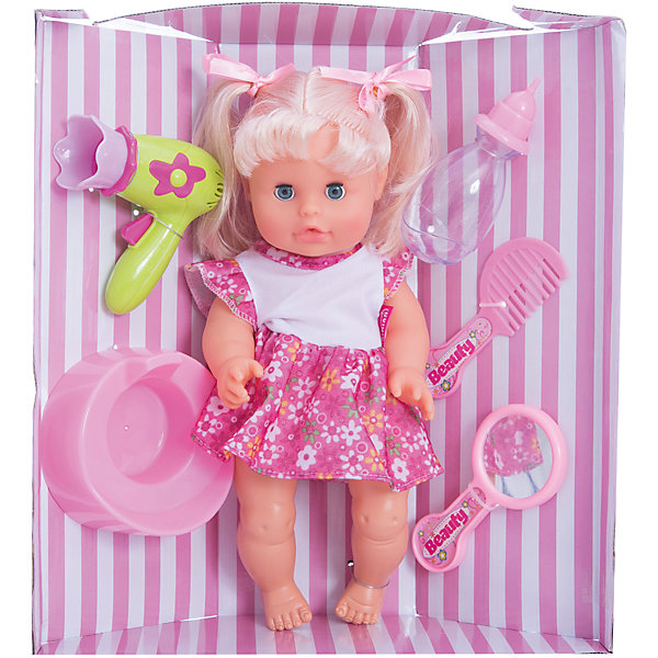 Кукла Bambolina, пьет и писает, с аксессуарами, 33 см , DIMIANКуклы<br>Кукла Bambolina, пьет и писает, с аксессуарами, 33 см , DIMIAN (Димиан)<br><br>Характеристики:<br><br>• реалистично пьет и писает<br>• в комплекте: кукла, горшок, бутылочка, расческа, фен, зеркальце<br>• высота куклы: 33 см<br>• материал: пластик, ПВХ, текстиль<br>• размер упаковки: 32х11х35 см<br>• вес: 617 грамм<br><br>Кукла Bambolina - прекрасный подарок девочке, мечтающей заботиться о малыше. В комплект входят аксессуары для ухода за куклой и горшок. Кукла умеет реалистично пить и даже писать. Девочка сможет напоить куколку, посадить ее на горшок и сделать красивую прическу. Красивые глазки и пухлые щечки куклы очень похожи на настоящего карапуза. С куклой Bambolina девочка почувствует себя заботливой мамой. Куклу можно уложить спать, рассказав ей чудесную сказку перед сном. Игрушка одета в короткое платье, а прическа украшена двумя бантиками.<br><br>Куклу Bambolina, пьет и писает, с аксессуарами, 33 см , DIMIAN (Димиан) вы можете купить в нашем интернет-магазине.<br>Ширина мм: 320; Глубина мм: 110; Высота мм: 350; Вес г: 617; Возраст от месяцев: 36; Возраст до месяцев: 2147483647; Пол: Женский; Возраст: Детский; SKU: 5571403;