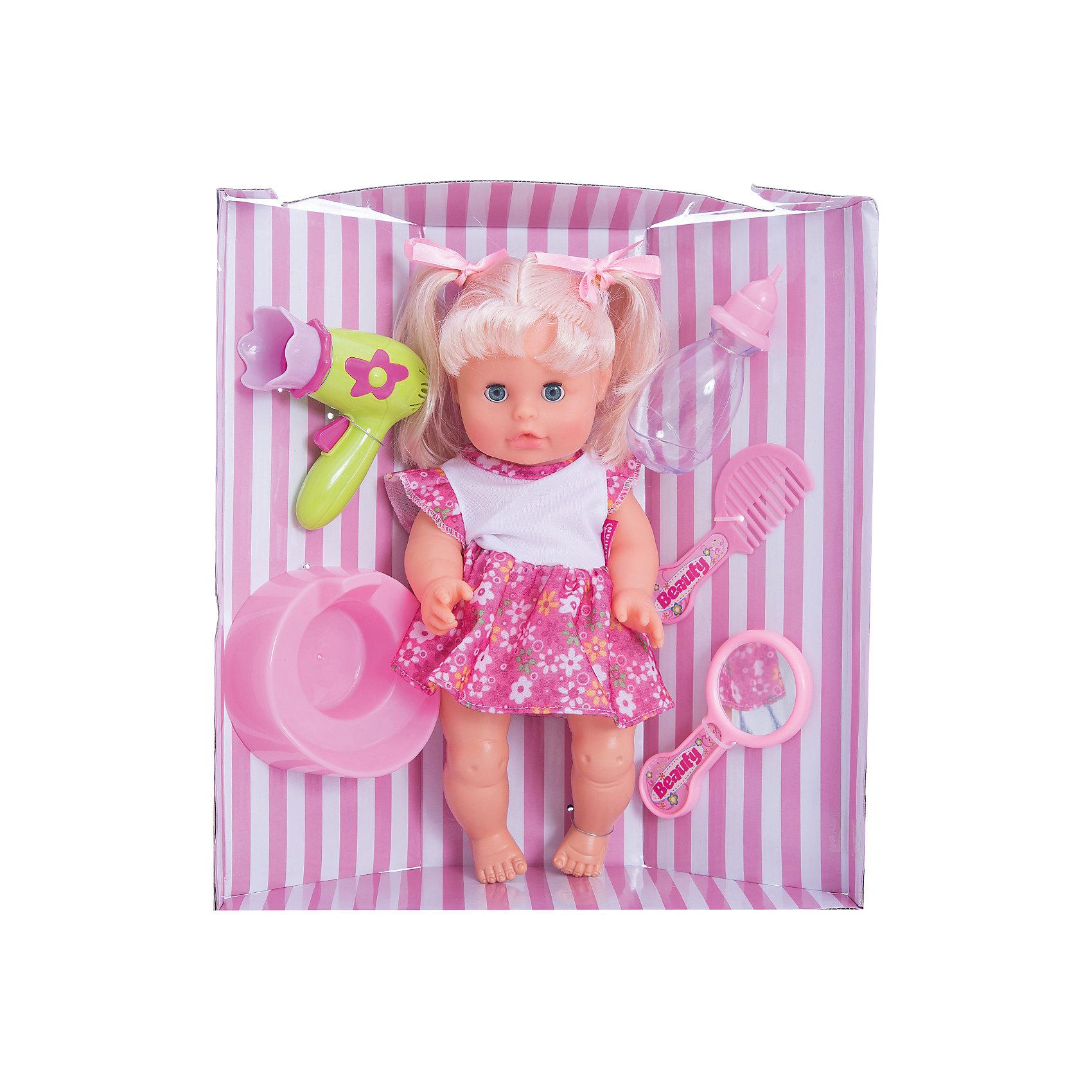 Кукла Bambolina, пьет и писает, с аксессуарами, 33 см , DIMIANКуклы-пупсы<br>Кукла Bambolina, пьет и писает, с аксессуарами, 33 см , DIMIAN (Димиан)<br><br>Характеристики:<br><br>• реалистично пьет и писает<br>• в комплекте: кукла, горшок, бутылочка, расческа, фен, зеркальце<br>• высота куклы: 33 см<br>• материал: пластик, ПВХ, текстиль<br>• размер упаковки: 32х11х35 см<br>• вес: 617 грамм<br><br>Кукла Bambolina - прекрасный подарок девочке, мечтающей заботиться о малыше. В комплект входят аксессуары для ухода за куклой и горшок. Кукла умеет реалистично пить и даже писать. Девочка сможет напоить куколку, посадить ее на горшок и сделать красивую прическу. Красивые глазки и пухлые щечки куклы очень похожи на настоящего карапуза. С куклой Bambolina девочка почувствует себя заботливой мамой. Куклу можно уложить спать, рассказав ей чудесную сказку перед сном. Игрушка одета в короткое платье, а прическа украшена двумя бантиками.<br><br>Куклу Bambolina, пьет и писает, с аксессуарами, 33 см , DIMIAN (Димиан) вы можете купить в нашем интернет-магазине.<br><br>Ширина мм: 320<br>Глубина мм: 110<br>Высота мм: 350<br>Вес г: 617<br>Возраст от месяцев: 36<br>Возраст до месяцев: 2147483647<br>Пол: Женский<br>Возраст: Детский<br>SKU: 5571403