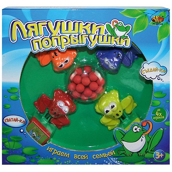 Настольная игра Лягушки-попрыгушки, ABtoysНастольные игры для всей семьи<br>Настольная игра Лягушки-попрыгушки, Abtoys (АБтойс)<br><br>Характеристики:<br><br>• количество игроков: 2-4<br>• в комплекте: игровая платформа, 4 лягушки, 24 шарика<br>• материал: пластик<br>• размер упаковки: 30,7х7,5х31,5 см<br>• вес: 630 грамм<br><br>Лягушки-попрыгушки - увлекательная игра, которая поможет развить скорость реакции и координацию движений. В набор входят четыре лягушки, расположенных на платформе и 24 шарика. В процессе игры участвующие должны нажимать на специальную кнопку, чтобы хватать шарики также, как лягушки хватают насекомых. Цель игры - поймать как можно больше шариков. Настольная игра Лягушки-попрыгушки подойдет как для семейного вечера, так и для игр с друзьями.<br><br>Настольную игру Лягушки-попрыгушки, Abtoys (АБтойс) можно купить в нашем интернет-магазине.<br>Ширина мм: 315; Глубина мм: 75; Высота мм: 307; Вес г: 630; Возраст от месяцев: 36; Возраст до месяцев: 2147483647; Пол: Унисекс; Возраст: Детский; SKU: 5571419;