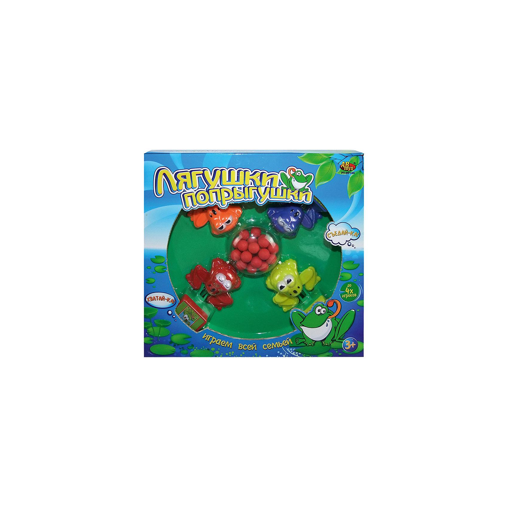Настольная игра Лягушки-попрыгушки, ABtoysНастольные игры для всей семьи<br>Настольная игра Лягушки-попрыгушки, Abtoys (АБтойс)<br><br>Характеристики:<br><br>• количество игроков: 2-4<br>• в комплекте: игровая платформа, 4 лягушки, 24 шарика<br>• материал: пластик<br>• размер упаковки: 30,7х7,5х31,5 см<br>• вес: 630 грамм<br><br>Лягушки-попрыгушки - увлекательная игра, которая поможет развить скорость реакции и координацию движений. В набор входят четыре лягушки, расположенных на платформе и 24 шарика. В процессе игры участвующие должны нажимать на специальную кнопку, чтобы хватать шарики также, как лягушки хватают насекомых. Цель игры - поймать как можно больше шариков. Настольная игра Лягушки-попрыгушки подойдет как для семейного вечера, так и для игр с друзьями.<br><br>Настольную игру Лягушки-попрыгушки, Abtoys (АБтойс) можно купить в нашем интернет-магазине.<br><br>Ширина мм: 315<br>Глубина мм: 75<br>Высота мм: 307<br>Вес г: 630<br>Возраст от месяцев: 36<br>Возраст до месяцев: 2147483647<br>Пол: Унисекс<br>Возраст: Детский<br>SKU: 5571419