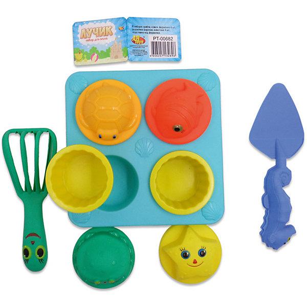 Набор для песка Лучик, 11 предметов, ABtoysИграем в песочнице<br>Набор для песка Лучик, 11 предметов, Abtoys (АБтойс)<br><br>Характеристики:<br><br>• в комплекте: 4 формочки, 4 формочки с морскими обитателями, подставка для формочек, совок, грабли<br>• материал: пластик<br>• размер упаковки: 22х16х12 см<br>• вес: 210 грамм<br><br>Набор Лучик предназначен для летних игр в песочнице. В набор входят 4 формочки в виде морских животных, 4 обычные формочки, подставка для формочек, совок и грабельки. Ребенок сможет построить красивые башенки, слепить пирожки и весело провести время! Все предметы выполнены из прочного и безопасного пластика.<br><br>Набор для песка Лучик, 11 предметов, Abtoys (АБтойс) вы можете купить в нашем интернет-магазине.<br><br>Ширина мм: 220<br>Глубина мм: 160<br>Высота мм: 120<br>Вес г: 210<br>Возраст от месяцев: 36<br>Возраст до месяцев: 2147483647<br>Пол: Унисекс<br>Возраст: Детский<br>SKU: 5571431
