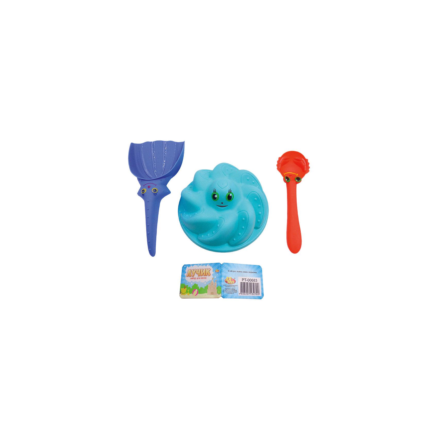 Набор для песка Лучик, 3 предмета, ABtoysИграем в песочнице<br>Набор для песка Лучик, 3 предмета, ABtoys (АБтойс)<br><br>Характеристики:<br><br>• в комплекте: формочка, лопатка, ложка<br>• материал: пластик<br>• размер упаковки: 18х19х6 см<br>• вес: 90 грамм<br><br>Набор Лучик пригодится малышу на пляже или в песочнице. Набор состоит из лопатки, формочки и ложки. Они изготовлены из прочного безопасного пластика и выполнены в виде морских животных. Малыш сможет построить целый замок для подводных обитателей.  Играть с веселыми зверушками еще веселее!<br><br>Набор для песка Лучик, 3 предмета, ABtoys (АБтойс) можно купить в нашем интернет-магазине.<br><br>Ширина мм: 180<br>Глубина мм: 190<br>Высота мм: 60<br>Вес г: 90<br>Возраст от месяцев: 36<br>Возраст до месяцев: 2147483647<br>Пол: Унисекс<br>Возраст: Детский<br>SKU: 5571432