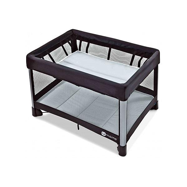 Манеж-кровать, 4moms, бриз серыйДетские кроватки<br>Характеристики товара:<br><br>• возраст с рождения;<br>• максимальный рост ребенка 90 см;<br>• максимальная нагрузка на верхний уровень 8 кг;<br>• максимальная нагрузка на нижний уровень 16 кг;<br>• материал: текстиль, металл, пластик;<br>• в комплекте: манеж, подвесной уровень, 2 матраса, сумка для транспортировки;<br>• размер манежа 115,5х81х73,6 см;<br>• размер в сложенном виде 78х32х32 см;<br>• размер упаковки 79х32х32 см;<br>• вес упаковки 10,9 кг;<br>• страна производитель: США<br><br>Манеж-кровать 4moms Breeze голубой может использоваться и как кроватка для маленького малыша, и как игровой манеж для детей постарше. Стенки выполнены из сетчатого материала, обеспечивающего вентиляцию воздуха. Все углы манежа закрыты тканевыми накладками, чтобы избежать случайных травм. <br><br>Конструкция манежа отличается хорошей устойчивостью благодаря 4 ножкам и дополнительному упору по центру. Накладки на ножках не царапают напольное покрытие. Складывается манеж одной рукой, достаточно лишь потянуть за специальную петлю. В сложенном виде имеет компактные габариты, что позволяет хранить его дома, не занимая много места, или брать с собой в поездку.<br><br>Манеж-кровать, 4moms, бриз серый можно приобрести в нашем интернет-магазине.<br><br>Ширина мм: 320<br>Глубина мм: 320<br>Высота мм: 790<br>Вес г: 10900<br>Возраст от месяцев: 0<br>Возраст до месяцев: 36<br>Пол: Унисекс<br>Возраст: Детский<br>SKU: 5572067