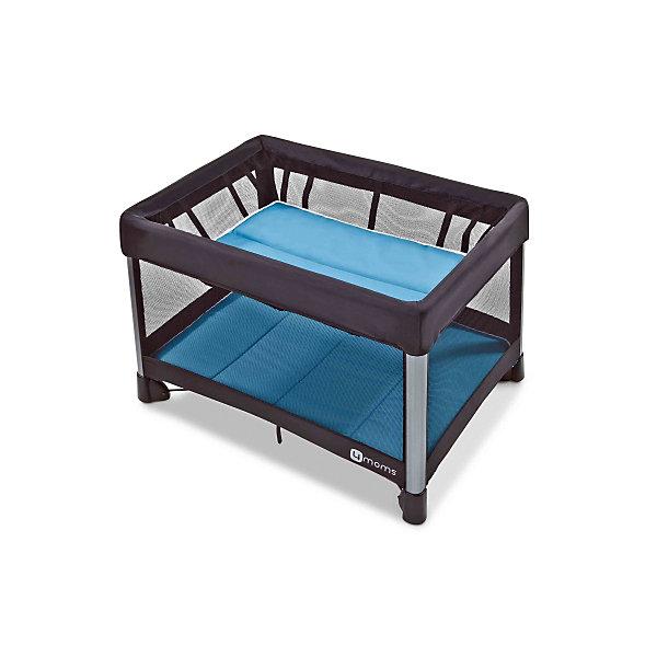 Манеж-кровать, 4moms, бриз голубойДетские манежи<br>Характеристики товара:<br><br>• возраст с рождения;<br>• максимальный рост ребенка 90 см;<br>• максимальная нагрузка на верхний уровень 8 кг;<br>• максимальная нагрузка на нижний уровень 16 кг;<br>• материал: текстиль, металл, пластик;<br>• в комплекте: манеж, подвесной уровень, 2 матраса, сумка для транспортировки;<br>• размер манежа 115,5х81х73,6 см;<br>• размер в сложенном виде 78х32х32 см;<br>• размер упаковки 79х32х32 см;<br>• вес упаковки 10,9 кг;<br>• страна производитель: США<br><br>Манеж-кровать 4moms Breeze голубой может использоваться и как кроватка для маленького малыша, и как игровой манеж для детей постарше. Стенки выполнены из сетчатого материала, обеспечивающего вентиляцию воздуха. Все углы манежа закрыты тканевыми накладками, чтобы избежать случайных травм. <br><br>Конструкция манежа отличается хорошей устойчивостью благодаря 4 ножкам и дополнительному упору по центру. Накладки на ножках не царапают напольное покрытие. Складывается манеж одной рукой, достаточно лишь потянуть за специальную петлю. В сложенном виде имеет компактные габариты, что позволяет хранить его дома, не занимая много места, или брать с собой в поездку.<br><br>Манеж-кровать, 4moms, бриз голубой можно приобрести в нашем интернет-магазине.<br><br>Ширина мм: 320<br>Глубина мм: 320<br>Высота мм: 790<br>Вес г: 10900<br>Возраст от месяцев: 0<br>Возраст до месяцев: 36<br>Пол: Унисекс<br>Возраст: Детский<br>SKU: 5572068