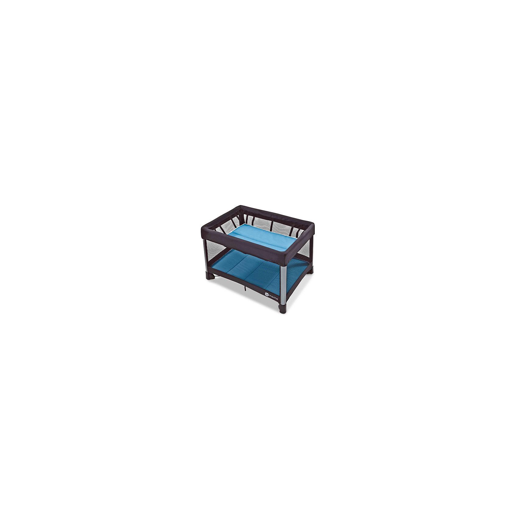 Манеж-кровать, 4moms, бриз голубойМанежи-кроватки<br>Характеристики товара:<br><br>• возраст с рождения;<br>• максимальный рост ребенка 90 см;<br>• максимальная нагрузка на верхний уровень 8 кг;<br>• максимальная нагрузка на нижний уровень 16 кг;<br>• материал: текстиль, металл, пластик;<br>• в комплекте: манеж, подвесной уровень, 2 матраса, сумка для транспортировки;<br>• размер манежа 115,5х81х73,6 см;<br>• размер в сложенном виде 78х32х32 см;<br>• размер упаковки 79х32х32 см;<br>• вес упаковки 10,9 кг;<br>• страна производитель: США<br><br>Манеж-кровать 4moms Breeze голубой может использоваться и как кроватка для маленького малыша, и как игровой манеж для детей постарше. Стенки выполнены из сетчатого материала, обеспечивающего вентиляцию воздуха. Все углы манежа закрыты тканевыми накладками, чтобы избежать случайных травм. <br><br>Конструкция манежа отличается хорошей устойчивостью благодаря 4 ножкам и дополнительному упору по центру. Накладки на ножках не царапают напольное покрытие. Складывается манеж одной рукой, достаточно лишь потянуть за специальную петлю. В сложенном виде имеет компактные габариты, что позволяет хранить его дома, не занимая много места, или брать с собой в поездку.<br><br>Манеж-кровать, 4moms, бриз голубой можно приобрести в нашем интернет-магазине.<br><br>Ширина мм: 320<br>Глубина мм: 320<br>Высота мм: 790<br>Вес г: 10900<br>Возраст от месяцев: 0<br>Возраст до месяцев: 36<br>Пол: Унисекс<br>Возраст: Детский<br>SKU: 5572068