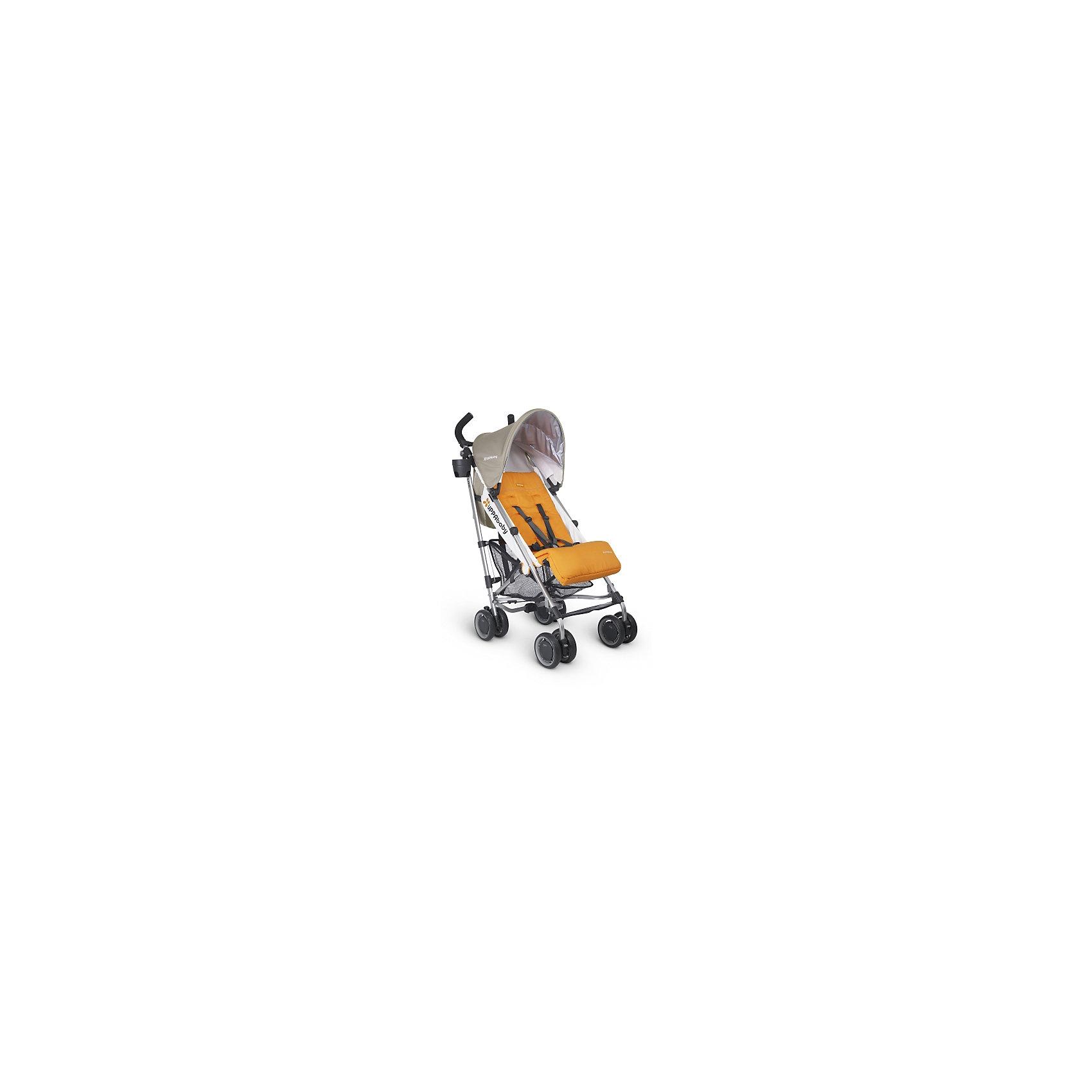 Коляска-трость UPPAbaby G-luxe, оранжевыйКоляски-трости<br>Характеристики товара:<br><br>• возраст от 6 месяцев;<br>• регулируемый наклон спинки в 4 положениях;<br>• большой капюшон для защиты от непогоды;<br>• дополнительный солнцезащитный козырек на капюшоне с УФ-защитой;<br>• регулируемая подножка;<br>• мягкий съемный внутренний матрасик на сидении из влагонепроницаемого материала;<br>• регулируемые 5-ти точечные ремни безопасности;<br>• подстаканник, который можно крепить с любой стороны;<br>• материал: полиэстер с водоотталкивающей пропиткой.<br><br>Коляска-трость UppaBaby G-Luxe оранжевая — легкая и маневренная коляска, которая отлично подойдет для прогулок по городу, парку, походов в торговый центр, поездок на природу и путешествий. Большой капюшон надежно защитит от дождя, а дополнительный козырек с УФ-защитой спасет от палящего солнца. Спинка и подножка регулируются, что позволяет подобрать для малыша оптимальное положение во время прогулки. Ручки родителей обтянуты противоскользящим материалом. В комплекте удобный ремень для переноски коляски в сложенном виде.<br><br>Шасси коляски:<br><br>• облегченная алюминиевая рама;<br>• тип складывания: трость;<br>• все колеса сдвоенные, передние поворотные с блокировкой;<br>• диаметр колес 15 см;<br>• тип колес: пластиковые;<br>• ширина колесной базы 48 см;<br>• стояночный тормоз-педаль;<br>• пружинные амортизаторы на всех колесах;<br>• вместительная сетчатая корзина для покупок;<br>• максимальная нагрузка на корзину 4,5 кг.<br><br>Размер коляски в разложенном виде 48х84х108 см<br>Размер коляски в сложенном виде 30х108х21,5 см<br>Вес коляски 6,8 кг<br>Размер упаковки 108х41х36 см<br>Вес упаковки 6,8 кг<br><br>Комплектация:<br><br>• прогулочный блок;<br>• подстаканник;<br>• ремень для переноски;<br>• вкладыш;<br>• инструкция.<br><br>Коляску-трость UppaBaby G-Luxe оранжевую можно приобрести в нашем интернет-магазине.<br><br>Ширина мм: 360<br>Глубина мм: 410<br>Высота мм: 1080<br>Вес г: 6000<br>Возраст от месяцев: 0<br>