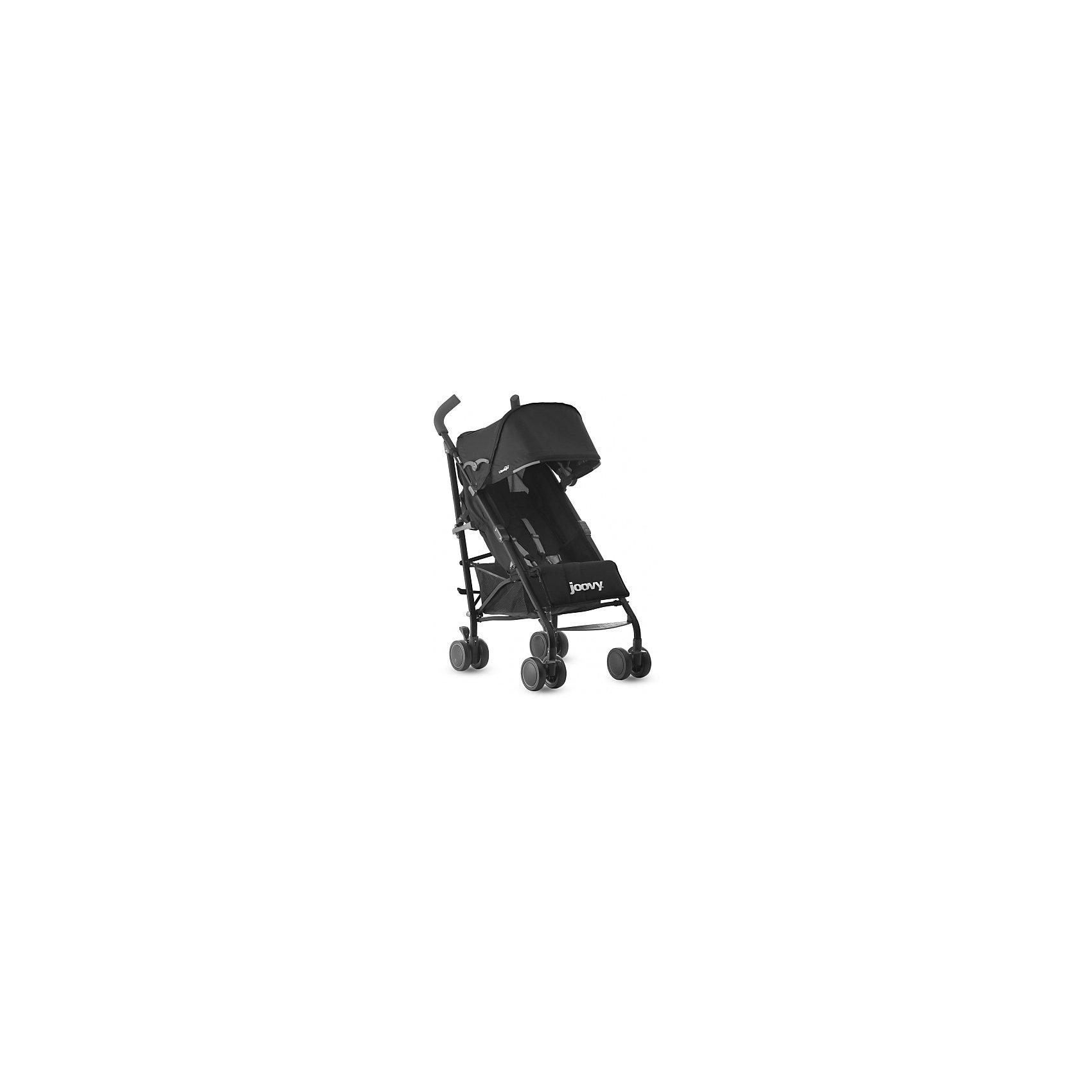 Коляска-трость Groove Ultralight, черный, JoovyКоляски-трости<br>Характеристики товара:<br><br>• возраст от 3 месяцев;<br>• регулируемый наклон спинки до положения в 170 градусов;<br>• большой капюшон для защиты от непогоды;<br>• смотровое окошко на капюшоне;<br>• сетчатые кармашки с внутренней стороны сидения;<br>• на задней части сетчатый отсек для бутылочки и карман на молнии;<br>• регулируемая подножка;<br>• длина спального места 81 см;<br>• 5-ти точечные ремни безопасности;<br>• светоотражающие элементы для безопасности в темное время суток;<br>• материал: полиэстер с водоотталкивающей пропиткой.<br><br>Коляска-трость Joovy Groove Ultralight черная — легкая и маневренная коляска, которая отлично подойдет для прогулок по городу, парку, походов в торговый центр, поездок на природу и путешествий. Большой капюшон надежно защитит от дождя и солнца. Для родителей предусмотрены удобные отделения для вещей: кармашек на молнии и сетчатый отсек на задней части капюшона. Для малыша с внутренней стороны сидения имеются кармашки для бутылочки или любимых игрушек. Складывается коляска одной рукой, что позволяет легко и быстро сложить ее, даже держа в другой руке малыша. В сложенном виде переносится при помощи удобного плечевого ремешка.<br><br>Шасси коляски:<br><br>• облегченная алюминиевая рама;<br>• тип складывания: трость;<br>• складывание одной рукой;<br>• все колеса сдвоенные, передние поворотные с блокировкой;<br>• диаметр колес 12 см;<br>• тип колес: полиуретановые;<br>• ширина колесной базы 50 см;<br>• стояночный тормоз-педаль;<br>• амортизаторы на передних колесах;<br>• вместительная сетчатая корзина для покупок;<br>• максимальная нагрузка на корзину 5 кг.<br><br>Размер коляски в разложенном виде 104х85х50 см<br>Размер коляски в сложенном виде 102х33х32 см<br>Вес коляски 6,3 кг<br>Размер упаковки 102х33х32 см<br>Вес упаковки 6,3 кг<br><br>Комплектация:<br><br>• прогулочный блок;<br>• ремень для переноски;<br>• инструкция.<br><br>Коляску-трость Joovy Groove Ultraligh