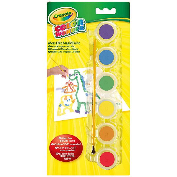 Краски, 6 цветов, CrayolaРисование и лепка<br>Характеристики:<br><br>• проявляются только на бумаге Wonder;<br>• бумага приобретается отдельно;<br>• в комплекте: кисточка, 6 красок (сиреневый, синий, зеленый, желтый, оранжевый, красный);<br>• размер баночки: 3х3х3 см;<br>• длина кисти: 16,6 см;<br>• размер упаковки: 26,5х3х12,5 см;<br>• вес: 230 грамм.<br><br>Уникальные краски Crayola, несомненно, порадуют детей и родителей. Шесть ярких цветов проявляются только на специальной волшебной бумаге Wonder (приобретается отдельно). Рисуя красками, ребенок не испачкается сам, а стены и мебель в доме останутся чистыми.<br><br>В комплект входят 6 баночек с краской и кисточка. Краски изготовлены из нетоксичных материалов.<br><br>Краски, 6 цветов, Crayola (Крайола) можно купить в нашем интернет-магазине.<br>Ширина мм: 125; Глубина мм: 30; Высота мм: 265; Вес г: 230; Возраст от месяцев: 36; Возраст до месяцев: 2147483647; Пол: Унисекс; Возраст: Детский; SKU: 5574409;