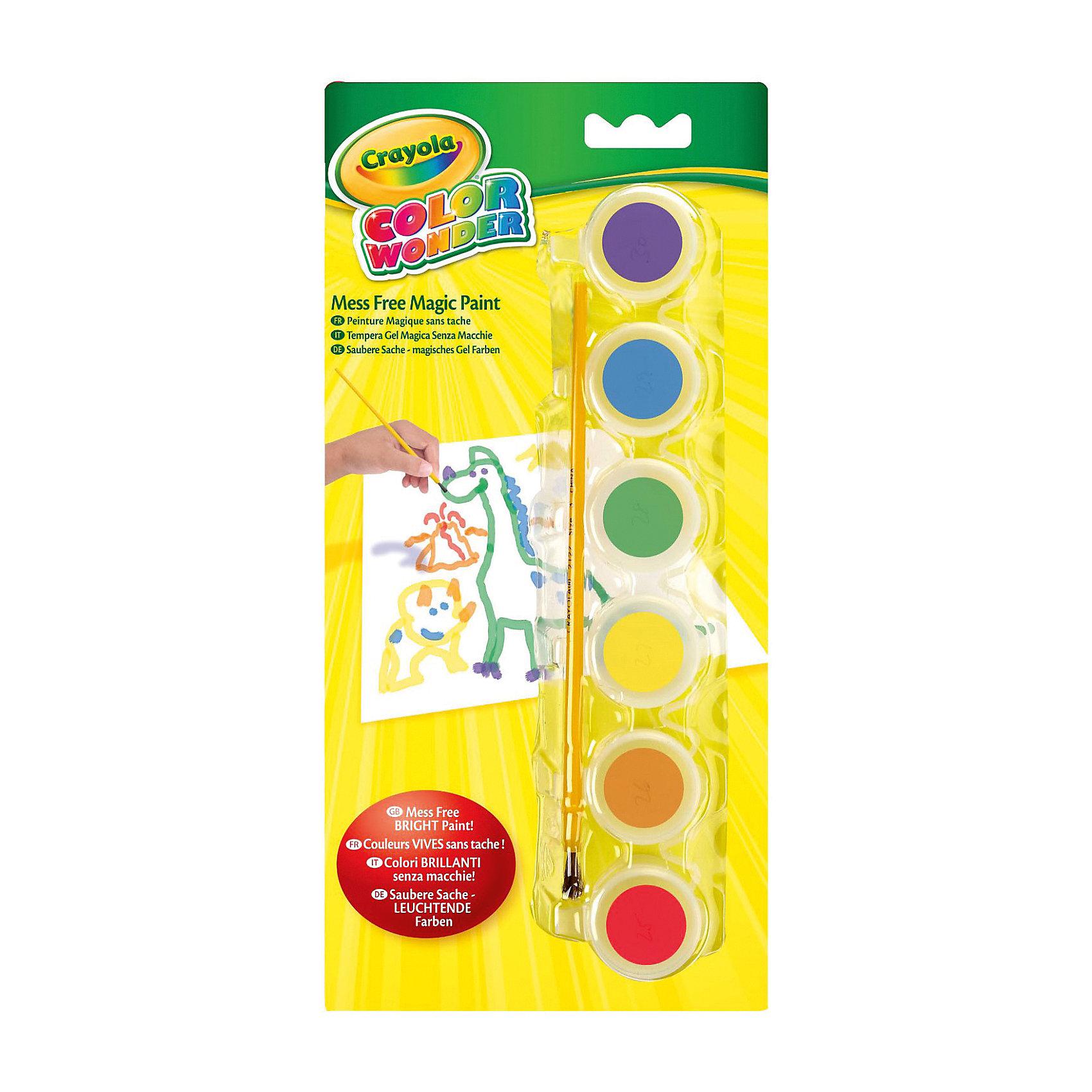 Краски, 6 цветов, CrayolaАкварель<br>Характеристики:<br><br>• проявляются только на бумаге Wonder;<br>• бумага приобретается отдельно;<br>• в комплекте: кисточка, 6 красок (сиреневый, синий, зеленый, желтый, оранжевый, красный);<br>• размер баночки: 3х3х3 см;<br>• длина кисти: 16,6 см;<br>• размер упаковки: 26,5х3х12,5 см;<br>• вес: 230 грамм.<br><br>Уникальные краски Crayola, несомненно, порадуют детей и родителей. Шесть ярких цветов проявляются только на специальной волшебной бумаге Wonder (приобретается отдельно). Рисуя красками, ребенок не испачкается сам, а стены и мебель в доме останутся чистыми.<br><br>В комплект входят 6 баночек с краской и кисточка. Краски изготовлены из нетоксичных материалов.<br><br>Краски, 6 цветов, Crayola (Крайола) можно купить в нашем интернет-магазине.<br><br>Ширина мм: 125<br>Глубина мм: 30<br>Высота мм: 265<br>Вес г: 230<br>Возраст от месяцев: 36<br>Возраст до месяцев: 2147483647<br>Пол: Унисекс<br>Возраст: Детский<br>SKU: 5574409