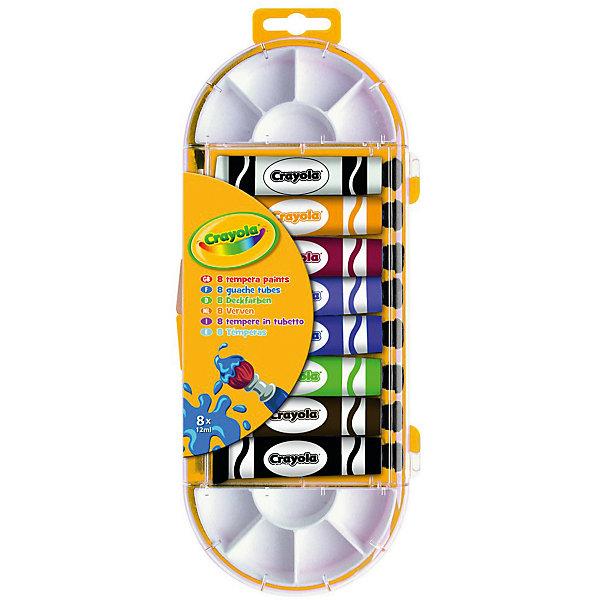 Темперные краски, 8 цветов, CrayolaМасляные и восковые мелки<br>Характеристики:<br><br>• в комплекте: кисточка, 2 палитры, 8 тюбиков с краской;<br>• объем тюбика: 12 мл;<br>• цвета красок: коричневый, сиреневый, белый, черный, красный, желтый, зеленый, синий;<br>• размер упаковки: 26,5х2,1х10,5х см;<br>• вес: 230 грамм.<br><br>Темперные краски Crayola - прекрасный подарок для юного художника. Благодаря плотной структуре, краски хорошо распределяются по поверхности, оставляя равномерный цвет.<br><br>В комплект входят две небольшие палитры, на которых ребенок сможет смешать разные цвета, чтобы получить новые.<br><br>Темперные краски, 8 цветов, Crayola (Крайола) можно купить в нашем интернет-магазине.<br><br>Ширина мм: 105<br>Глубина мм: 21<br>Высота мм: 265<br>Вес г: 230<br>Возраст от месяцев: 72<br>Возраст до месяцев: 2147483647<br>Пол: Унисекс<br>Возраст: Детский<br>SKU: 5574410