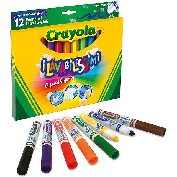 Фломастеры Супер чисто, 12 шт., CrayolaФломастеры<br>Характеристики:<br><br>• в комплекте: 12 фломастеров;<br>• размер фломастера: 13,5 см;<br>• размер упаковки: 16,5х1,8х19 см;<br>• вес: 180 грамм.<br><br>«Супер чисто» - набор из 12 ярких фломастеров от Crayola. Главная особенность фломастеров в том, что они легко стираются небольшим количеством воды. Если юный художник случайно разрисует обои или мебель, родители смогут стереть рисунок.<br><br>Фломастеры изготовлены из безопасных для детей материалов. Они мягко наносятся на поверхность и оставляют яркий след.<br><br>Фломастеры Супер чисто, 12 шт., Crayola (Крайола) можно купить в нашем интернет-магазине.<br><br>Ширина мм: 190<br>Глубина мм: 18<br>Высота мм: 165<br>Вес г: 180<br>Возраст от месяцев: 12<br>Возраст до месяцев: 2147483647<br>Пол: Унисекс<br>Возраст: Детский<br>SKU: 5574411