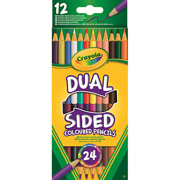 Двухсторонние карандаши, 12 шт., CrayolaЦветные<br>Характеристики:<br><br>• возраст: от 3-х лет<br>• в комплекте: 12 карандашей (24 цвета);<br>• размер упаковки: 21,3х0,8х9 см;<br>• вес: 20 грамм.<br><br>Карандаши Crayola помогут ребенку создать самые красочные шедевры. В комплект входят 12 карандашей. Каждый карандаш имеет два стержня с разных сторон. Таким образом, все необходимые цвета всегда будут под рукой и не займут много места.<br><br>Компактную упаковку удобно взять с собой. Карандаши изготовлены из безопасной древесины и прочного стержня.<br><br>Двухсторонние карандаши, 12 шт., Crayola (Крайола) можно купить в нашем интернет-магазине.<br><br>Ширина мм: 90<br>Глубина мм: 8<br>Высота мм: 213<br>Вес г: 20<br>Возраст от месяцев: 36<br>Возраст до месяцев: 2147483647<br>Пол: Унисекс<br>Возраст: Детский<br>SKU: 5574412