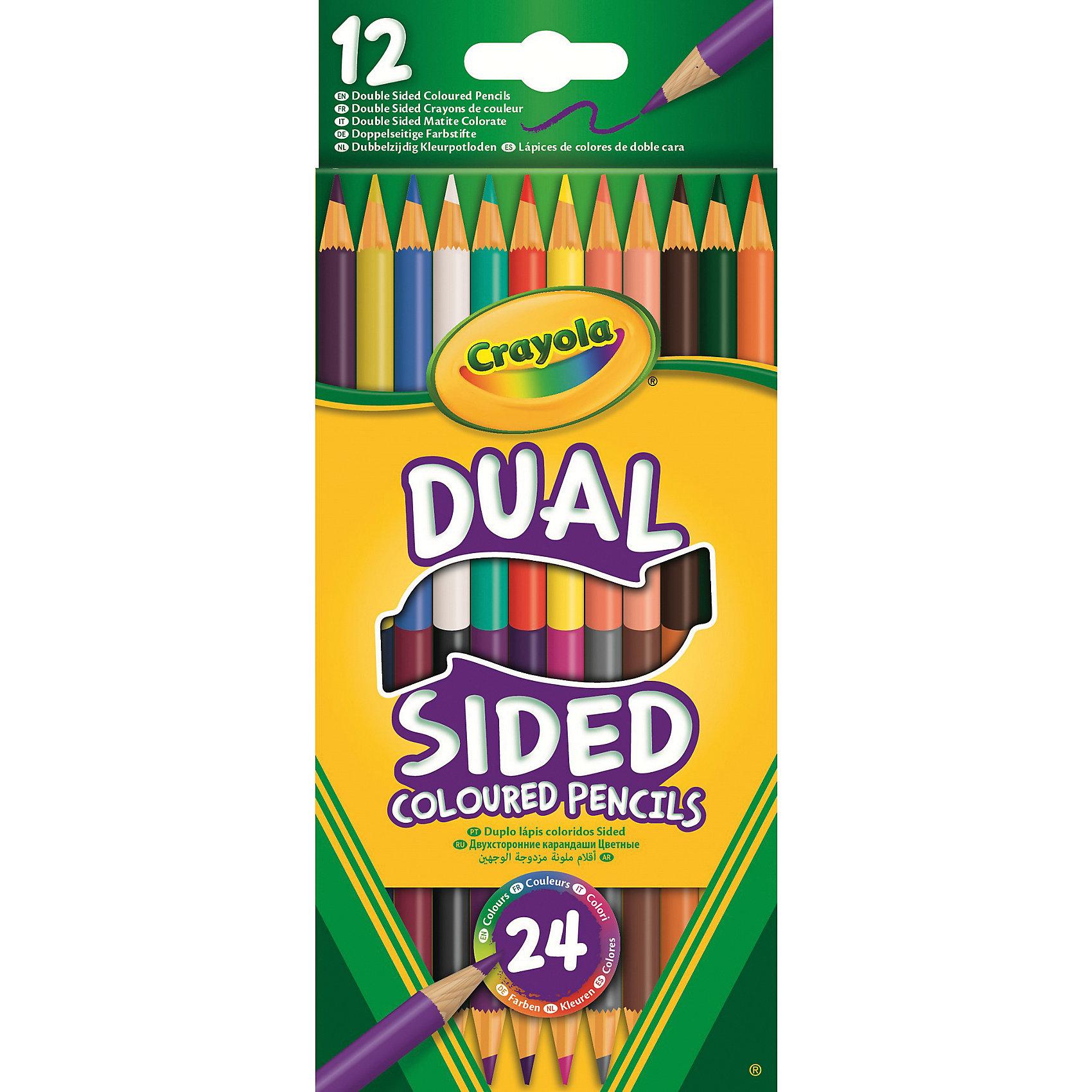 Двухсторонние карандаши, 12 шт., CrayolaРисование<br>Когда дети занимаются творчеством, это всегда чудесно. Ведь подобное занятие дает возможность ребенку проявить свою фантазию и логическое мышление, создавая невероятные рисунки, которые всегда будут радовать его родителей. Предлагаем вам новинку от компании Crayola - 12 двухсторонних карандашей! Эти карандаши невероятно удобны тем, что с каждой стороны они имеют разный цвет! Карандаши располагаются в красочной упаковке из плотного картона. Коробка с карандашами достаточно компактна, поэтому сможет составить компанию ребенку в любом путешествии, чтобы он смог делать рисунки где ему только захочется. <br>Карандаши выполнены из безопасного для детей материала очень высокого качества, поэтому они послужат ребенку очень долго.<br><br>Ширина мм: 90<br>Глубина мм: 8<br>Высота мм: 213<br>Вес г: 20<br>Возраст от месяцев: 36<br>Возраст до месяцев: 2147483647<br>Пол: Унисекс<br>Возраст: Детский<br>SKU: 5574412