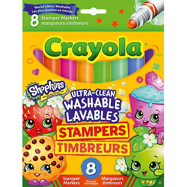 Фломастеры штампики, 8 шт., Shopkins, CrayolaФломастеры<br>Характеристики:<br><br>• возраст: от 3-х лет<br>• в комплекте: 8 фломастеров со штампиками;<br>• размер упаковки: 1,8х13х17,5 см;<br>• вес: 110 грамм.<br><br>С набором фломастеров от Crayola у ребенка получатся самые прекрасные рисунки. С одной стороны расположены фломастеры, а с другой - необычные штампики. <br><br>Ребенок сможет нарисовать красивую картинку, а затем дополнить ее узорами из штампиков. При попадании на кожу фломастер легко смывается водой.<br><br>Упаковка фломастеров украшена изображением забавных Шопкинсов.<br><br>Фломастеры штампики, 8 шт., Shopkins, Crayola (Крайола) можно купить в нашем интернет-магазине.<br><br>Ширина мм: 175<br>Глубина мм: 130<br>Высота мм: 18<br>Вес г: 110<br>Возраст от месяцев: 36<br>Возраст до месяцев: 2147483647<br>Пол: Унисекс<br>Возраст: Детский<br>SKU: 5574413