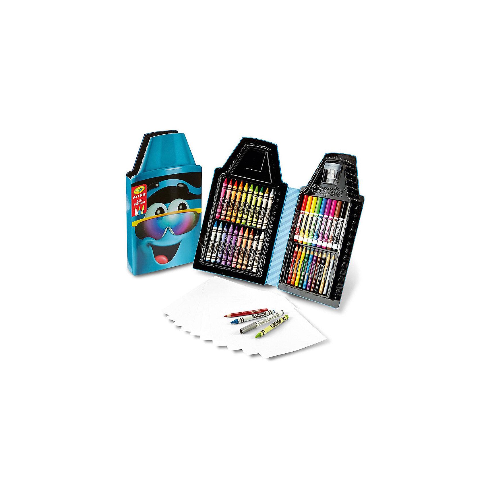 Набор для творчества Карандаш, голубой, CrayolaЦветные карандаши<br>Набор для творчества Карандаш (голубой) станет отличным подарком для ребенка, который любит рисовать. Разнообразие набора поможет ему воплотить на бумаге свои давние фантазии. В набор входят десять фломастеров, десять цветных карандашей, двадцать восковых мелков, а также десять чистых листов бумаги для рисования. Если вдруг карандаши затупятся, вам поможет прозрачная точилка с возможностью точить карандаши двух разных диаметров. Все это сложено в симпатичный пенал голубого цвета, который позволит аккуратно хранить его содержимое, а также без проблем переносить карандаши с места на место. <br>В комплект входит: 10 фломастеров, 10 цветных карандашей, 20 восковых мелков, 10 чистых листов, точилка.<br>Рекомендуется детям старше 5 лет.<br><br>Ширина мм: 320<br>Глубина мм: 30<br>Высота мм: 175<br>Вес г: 360<br>Возраст от месяцев: 60<br>Возраст до месяцев: 2147483647<br>Пол: Мужской<br>Возраст: Детский<br>SKU: 5574414