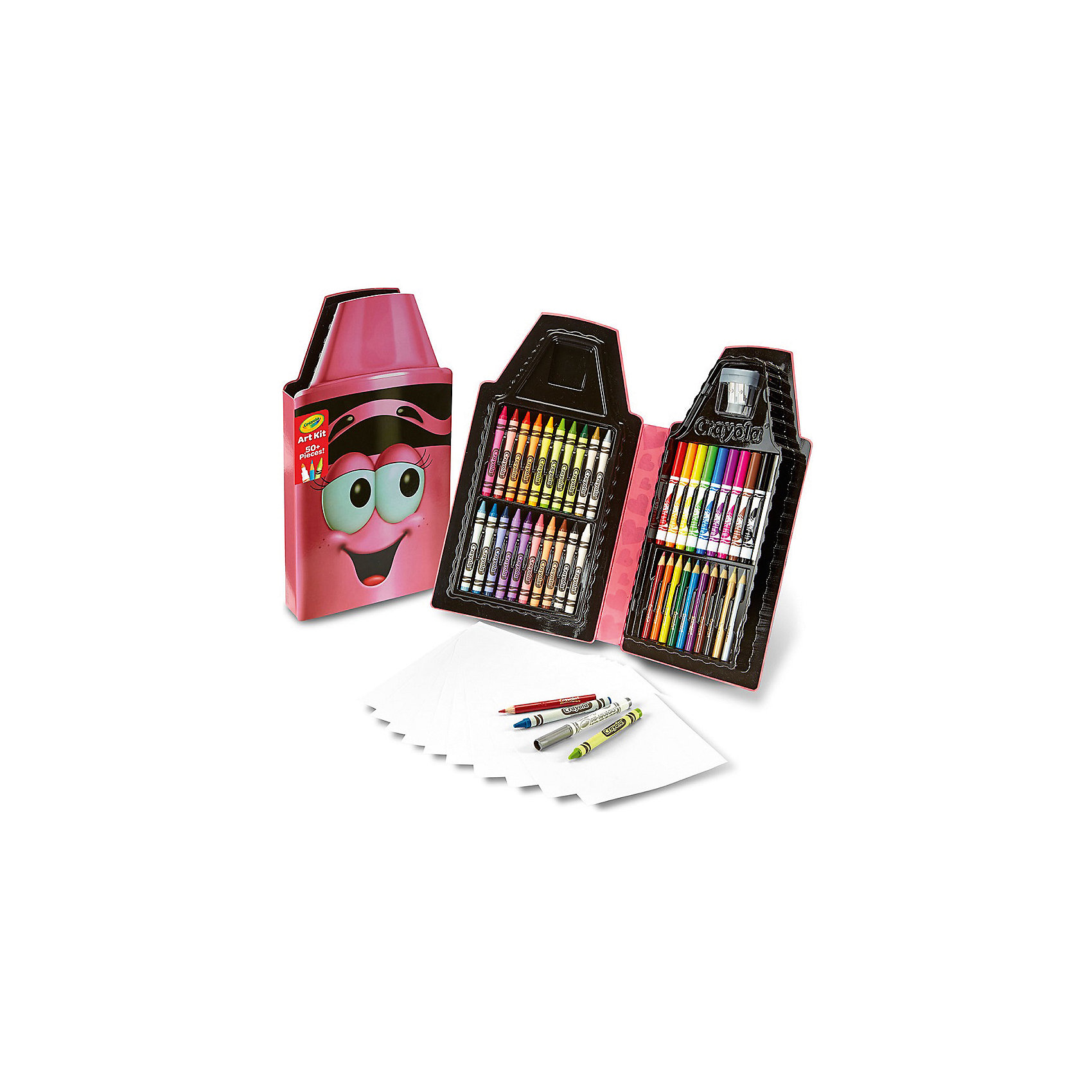 Набор для творчества Карандаш, розовый, CrayolaЦветные<br>Набор для творчества Карандаш (розовый) – отличный сюрприз для юной художницы. Удобный красочный пенал включает в себя двадцать восковых мелков, десять фломастеров, десять цветных карандашей, а также десять чистых листов бумаги, на которых можно рисовать свои шедевры. Также в комплект входит удобная точилка, которая позволяет точить карандаши двух разных диаметров. После рисования, ребенок сможет сложить все карандаши и фломастеры обратно в пенал, который сохранит свое содержимое до следующего использования. <br>В комплект входит: 20 восковых мелков, 10 фломастеров, 10 цветных карандашей, точилка и 10 чистых листов бумаги.<br>Рекомендуемый возраст: от 5 лет.<br><br>Ширина мм: 320<br>Глубина мм: 30<br>Высота мм: 175<br>Вес г: 360<br>Возраст от месяцев: 60<br>Возраст до месяцев: 2147483647<br>Пол: Женский<br>Возраст: Детский<br>SKU: 5574415