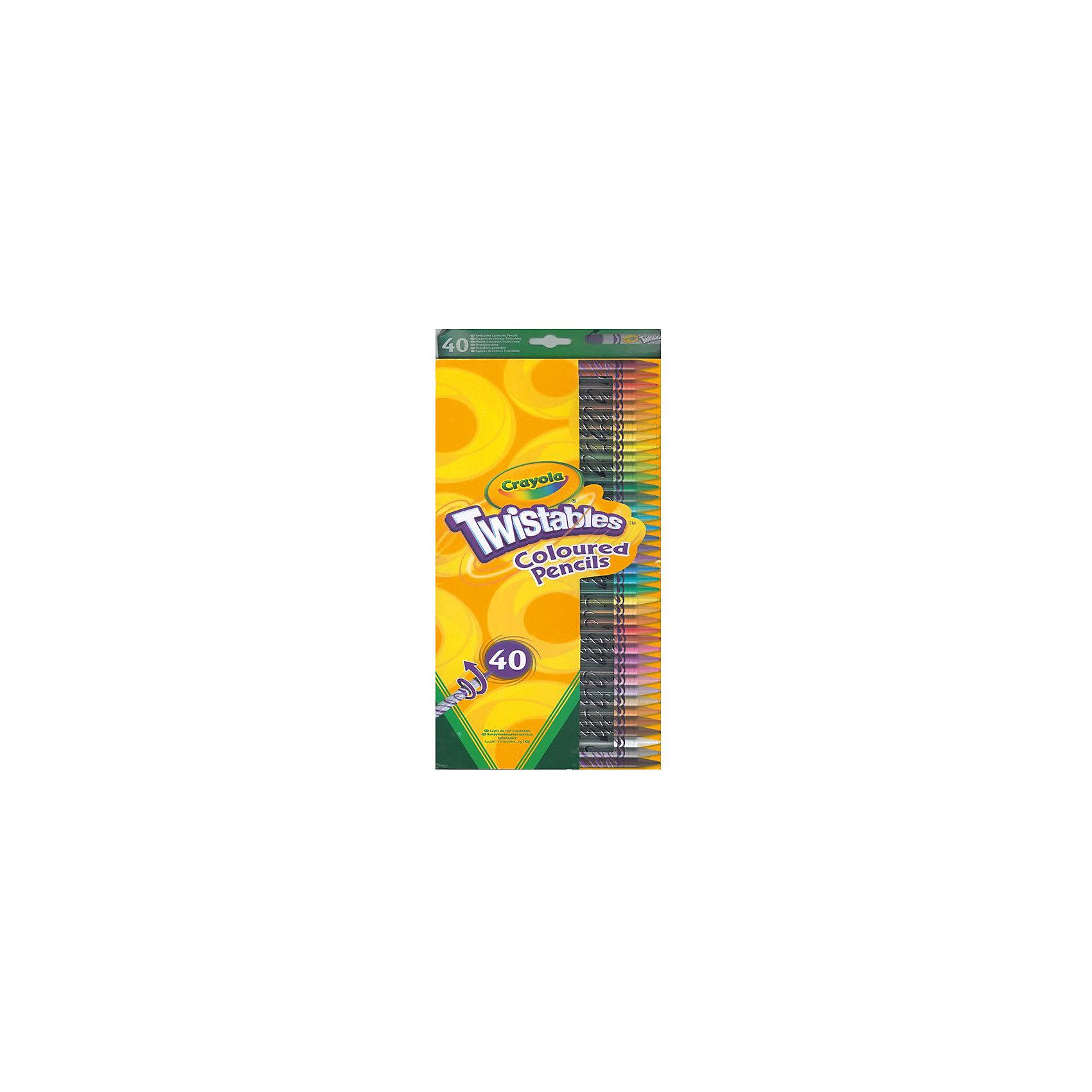 Набор для творчества «40 выкручивающихся цветных карандашей», CrayolaЦветные<br>Характеристики:<br><br>• возраст: от 3 лет<br>• в комплекте: 40 карандашей;<br>• размер упаковки: 40х1х17 см;<br>• вес: 140 грамм.<br><br>Набор карандашей Crayola невероятно удобен для детей. Карандаши оснащены выдвижным элементом. Для рисования ребенку не понадобится точилка, достаточно просто покрутить корпус карандаша.<br><br>В комплект входят 40 карандашей ярких оттенков, которые мягко ложатся на поверхность холста. С большим комплектом карандашей ребенок создаст самые красивые рисунки для украшения детской комнаты.<br><br>Набор для творчества «40 выкручивающихся цветных карандашей», Crayola (Крайола) можно купить в нашем интернет-магазине.<br><br>Ширина мм: 170<br>Глубина мм: 10<br>Высота мм: 400<br>Вес г: 140<br>Возраст от месяцев: 36<br>Возраст до месяцев: 2147483647<br>Пол: Унисекс<br>Возраст: Детский<br>SKU: 5574416