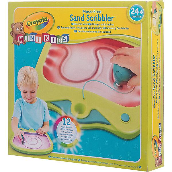 Набор для творчества Рисование на песке для чистюль, CrayolaКоврики и доски для рисования<br>Характеристики:<br><br>• 15 подсветок;<br>• в комплекте: доска, стилус;<br>• батарейки: АА - 3 шт.;<br>• материал: пластик, магнит, песок, текстиль;<br>• размер упаковки: 18х3х28 см;<br>• вес: 900 грамм.<br><br>Если ребенок хочет рисовать на песке, а до отдыха на пляже еще далеко - на помощь придет набор «Рисование на песке для чистюль». С его помощью юный художник сможет создать красивые рисунки на песке, сохраняя чистоту и порядок в доме.<br><br>Набор состоит из доски с песком, стилуса и магнита. На внутренней стороне пластикового стекла находится одна часть магнита. Она соединяется с другой частью, расположенной на стилусе. Таким образом, песок, находящийся под защитным стеклом не просыпается, а ребенок сможет рисовать любимые узоры на песке.<br><br>Доска оснащена световыми эффектами. 15 ярких подсветок сделают рисунок еще прекраснее.<br><br>Набор для творчества Рисование на песке для чистюль, Crayola (Крайола) можно купить в нашем интернет-магазине.<br>Ширина мм: 280; Глубина мм: 30; Высота мм: 180; Вес г: 900; Возраст от месяцев: 24; Возраст до месяцев: 2147483647; Пол: Унисекс; Возраст: Детский; SKU: 5574417;