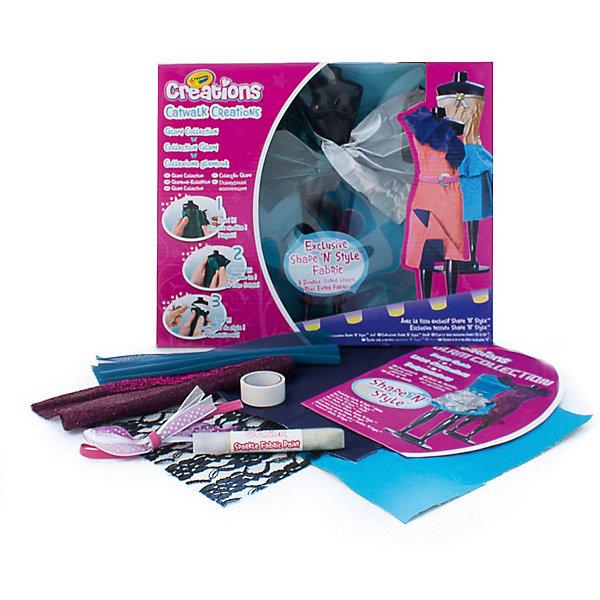 Набор «Подиум: Гламур, CrayolaШитьё<br>Характеристики:<br><br>• возраст: от 4 лет<br>• в комплекте: мини-манекен, 4 листа ткани, двусторонний скотч, баночки с краской, лекало, инструкция;<br>• материал: пластик, текстиль;<br>• размер упаковки: 30х25х4,5 см;<br>• вес: 300 грамм.<br><br>Набор «Подиум: Гламур» - настоящая находка для юных модниц. Девочка сможет проявить фантазию, придумать и создать самые прекрасные наряды для своих кукол.<br><br>В комплект входят 4 листа ткани разных цветов, мини-манекен, двусторонний скотч и баночки для окрашивания ткани.  Ткань ShparenStyle сохраняет форму, которую придаст ей юный дизайнер.<br><br>Для работы не нужны клей, игла и нитки. Детали соединяются между собой с помощью двустороннего скотча. <br><br>Игра с набором развивает мелкую моторику,  фантазию и усидчивость.<br><br>Набор Подиум: Гламур, Crayola (Крайола) можно купить в нашем интернет-магазине.<br><br>Ширина мм: 45<br>Глубина мм: 250<br>Высота мм: 300<br>Вес г: 300<br>Возраст от месяцев: 48<br>Возраст до месяцев: 2147483647<br>Пол: Женский<br>Возраст: Детский<br>SKU: 5574418