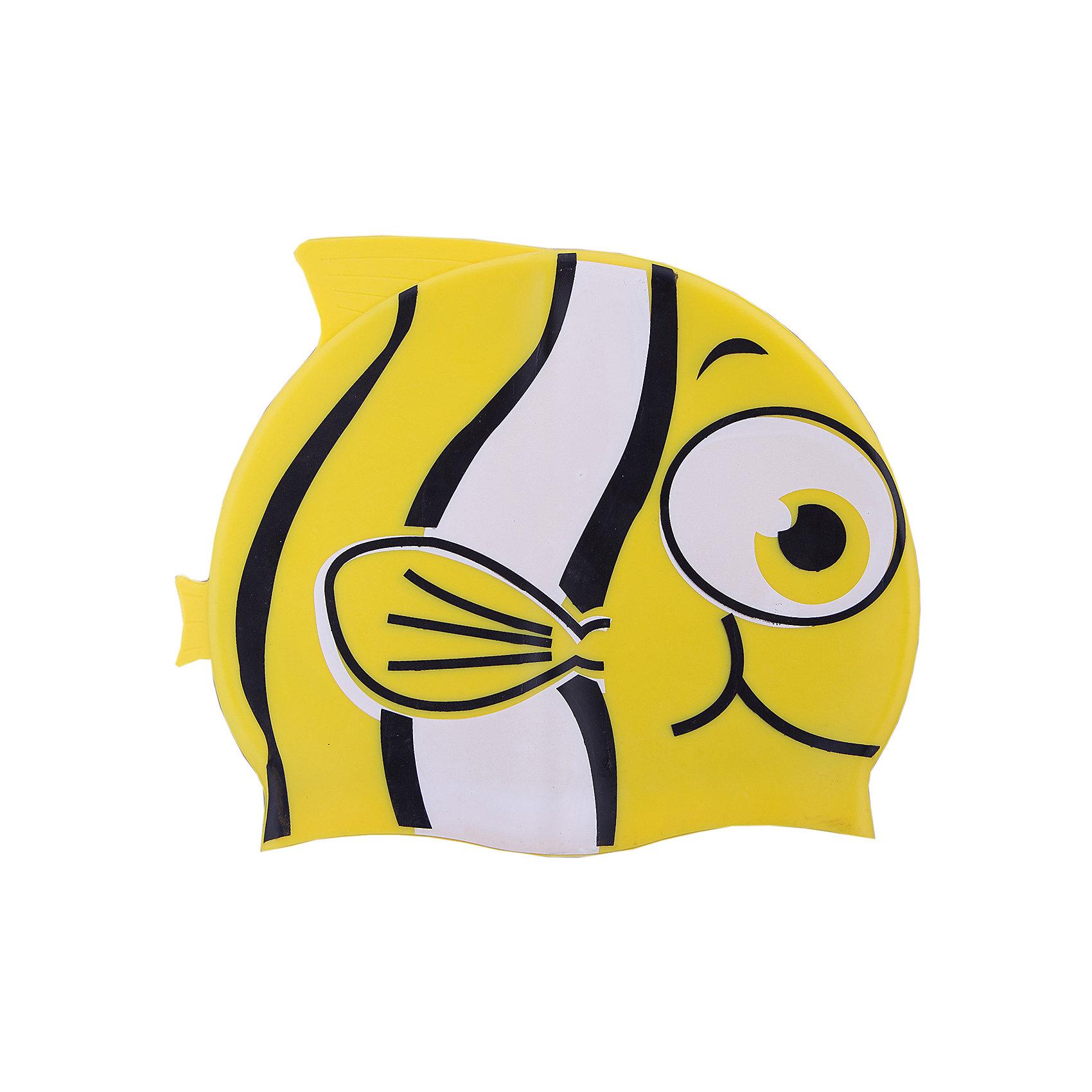Шапочка для плавания силиконовая Рыбка, желтая, DobestОчки, маски, ласты, шапочки<br>Характеристики товара:<br><br>• материал: 100% силикон<br>• размер: универсальный<br>• страна-производитель: Китай <br>• упаковка: zip система с европодвесом<br><br>Защищает волосы от хлорированной воды и помогает избежать массу неудобств во время посещения бассейна. <br><br>Благодаря своей эластичности, шапочка удобно и плотно облегает голову, сохраняя волосы относительно сухими, подходит к любому размеру головы. <br><br>Ее легко одевать и снимать, так как она очень хорошо растягивается. <br><br>Силикон не вызывает аллергии и очень прост в уходе — после купания в бассейне шапочку достаточно просто прополоскать в пресной воде и высушить.<br><br>Шапочка для плавания силиконовая Рыбка можно купить в нашем интернет-магазине.<br><br>Ширина мм: 125<br>Глубина мм: 210<br>Высота мм: 10<br>Вес г: 65<br>Возраст от месяцев: 36<br>Возраст до месяцев: 2147483647<br>Пол: Унисекс<br>Возраст: Детский<br>SKU: 5574460