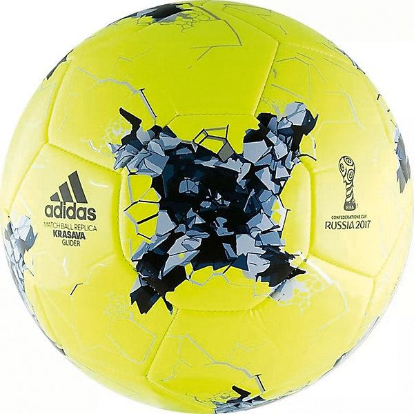 Мяч футбольный Krasava Glider р. 5, желтый, adidasМячи детские<br>Характеристики товара:<br><br>• тип: футбольный<br>• размер: 5<br>• окружность: 68-70см<br>• количество панелей: 18<br>• количество подкладочных слоев: 1<br>• вес: 430гр<br>• материалы камеры: бутиловая<br>• материал покрышки: синтетическая кожа (термополиуретан)<br>• тип соединения панелей: машинная сшивка<br>• страна-производитель: Индонезия<br><br>Футбольный мяч от компании Adidas создан специально в честь Кубка конфедераций 2017. Отлично подойдет для оттачивания мастерства. Футбольный мяч Adidas Confederations Cup Glider декорирован графикой турнира. <br><br>ВНИМАНИЕ!!! Все мячи с завода-изготовителя поступают в спущенном или приспущенном состоянии для их безопасного перемещения и хранения.<br><br>Мяч футбольный Krasava Glider р. 5, желтый, adidas можно купить в нашем интернет-магазине.<br><br>Ширина мм: 75<br>Глубина мм: 220<br>Высота мм: 220<br>Вес г: 430<br>Возраст от месяцев: 36<br>Возраст до месяцев: 2147483647<br>Пол: Унисекс<br>Возраст: Детский<br>SKU: 5574476