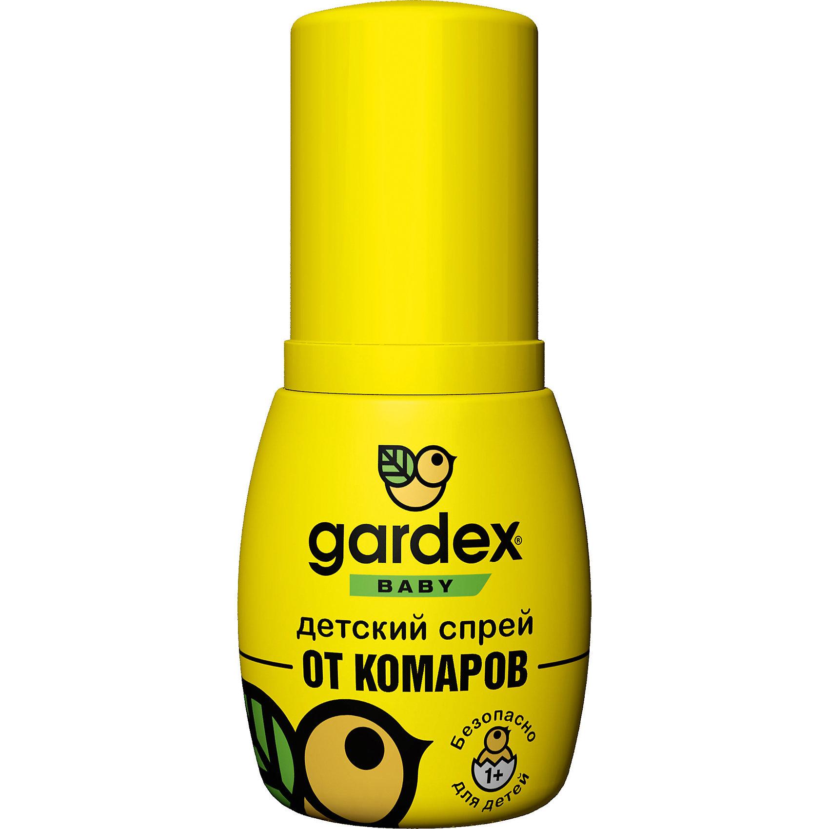 Спрей от комаров, с 1 года, 50 мл, Gardex BabyСредства защиты от солнца и насекомых<br>Характеристики:<br><br>• Состав: IR3535, вода, пропиленгликоль, отдушки <br>• Форма средства: спрей<br>• Продолжительность действия: до 2-х часов<br>• Упаковка: флакон<br>• Объем: 50 мл<br>• Оснащен пульверизатором<br>• Не оставляет пятен на одежде<br>• Вес: 75 г<br>• Размеры (Д*Ш*В): 4,5*3,5*10,5 см<br>• Срок годности: 3 года <br><br>Спрей от комаров, с 1 года, 50 мл, Gardex Baby предназначен для защиты от укусов насемомых для детей от 1-го года. В состав репеллента входит инновационное действующее средство IR3535, которое безопасно для детей. <br><br>Спрей предназначен для нанесения на открытые участки кожи, при попадании на одежду не оставляет следов. Имеет увеличенную длительность защитного воздействия – до 2-х часов. <br><br>Средство выполнено в удобном пластиковом флаконе с пульверизатором, за счет чего оно экономно расходуется. Имеет компактный размер и не занимает много места в сумке или детском рюкзаке.<br><br>Спрей от комаров, с 1 года, 50 мл, Gardex Baby можно купить в нашем интернет-магазине.<br><br>Ширина мм: 45<br>Глубина мм: 35<br>Высота мм: 105<br>Вес г: 75<br>Возраст от месяцев: 12<br>Возраст до месяцев: 2147483647<br>Пол: Унисекс<br>Возраст: Детский<br>SKU: 5575714
