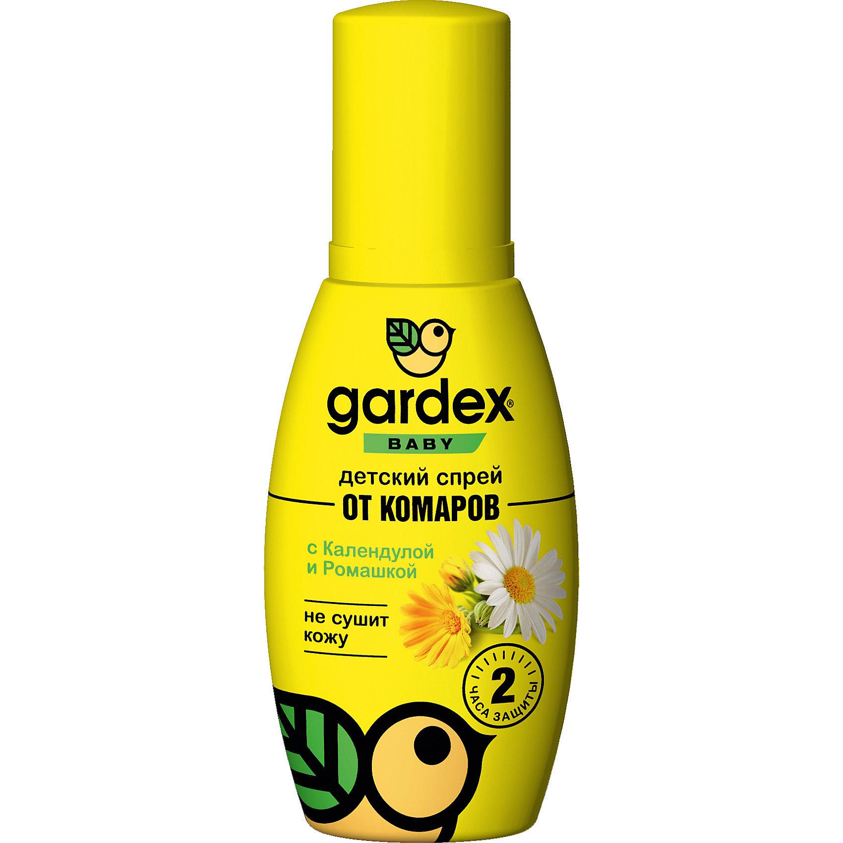 Спрей от комаров, с 2-х лет, 100 мл., Gardex BabyСредства защиты от солнца и насекомых<br>• Подходит для детей от 2 лет<br>• Содержит экстракты календулы<br>и ромашки, позволяя бережно<br>заботиться о детской коже<br>• Предназначен для нанесения на<br>кожу и одежду<br><br>Ширина мм: 55<br>Глубина мм: 40<br>Высота мм: 145<br>Вес г: 132<br>Возраст от месяцев: 24<br>Возраст до месяцев: 2147483647<br>Пол: Унисекс<br>Возраст: Детский<br>SKU: 5575717