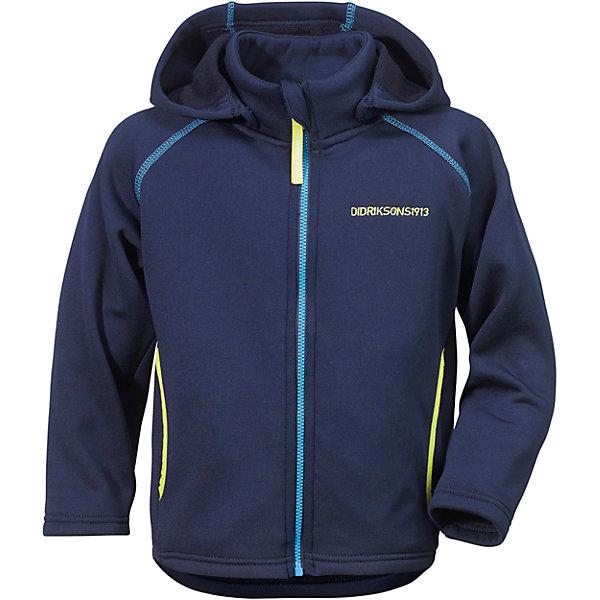 Толстовка BAWAL для мальчика DIDRIKSONSФлис и термобелье<br>Куртка из гладкого флиса.  Мягкий и комфортный флис обладает хорошими теплоизоляционными свойствами, которые сохраняются даже во влажном состоянии. Этот материал прост в уходе (допускается стирка в машине). Съемный капюшон. Весной и летом эта модель будет работать как самостоятельная верхняя одежда, а в ненастную погоду ее можно использовать как утепляющий слой под водонепроницаемую верхнюю одежду.<br>Состав:<br>95% полиэстер, эластан 5%<br><br>Ширина мм: 356<br>Глубина мм: 10<br>Высота мм: 245<br>Вес г: 519<br>Цвет: голубой<br>Возраст от месяцев: 36<br>Возраст до месяцев: 48<br>Пол: Мужской<br>Возраст: Детский<br>Размер: 100,130,140,80,90,110,120<br>SKU: 5576727