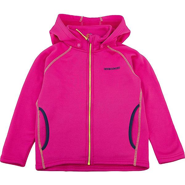 ТолстовкаBAWAL для девочки DIDRIKSONSФлис и термобелье<br>Толстовка из гладкого флиса.  Мягкий и комфортный флис обладает хорошими теплоизоляционными свойствами, которые сохраняются даже во влажном состоянии. Этот материал прост в уходе (допускается стирка в машине). Съемный капюшон. Весной и летом эта модель будет работать как самостоятельная верхняя одежда, а в ненастную погоду ее можно использовать как утепляющий слой под водонепроницаемую верхнюю одежду.<br>Состав:<br>95% полиэстер, эластан 5%<br>Ширина мм: 356; Глубина мм: 10; Высота мм: 245; Вес г: 519; Цвет: розовый; Возраст от месяцев: 36; Возраст до месяцев: 48; Пол: Женский; Возраст: Детский; Размер: 100,80,130,140,90,110,120; SKU: 5576735;