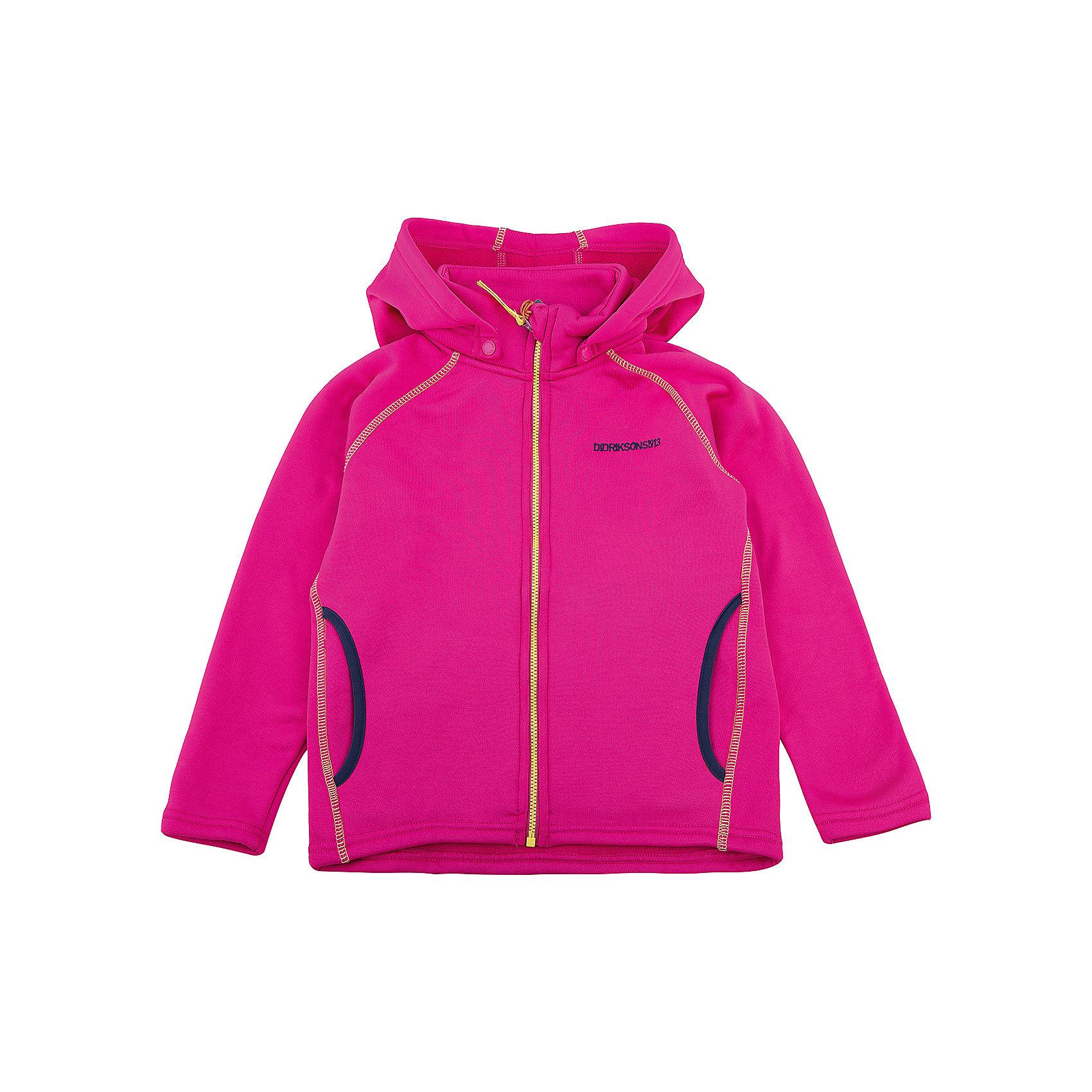 ТолстовкаBAWAL для девочки DIDRIKSONSТолстовки<br>Толстовка из гладкого флиса.  Мягкий и комфортный флис обладает хорошими теплоизоляционными свойствами, которые сохраняются даже во влажном состоянии. Этот материал прост в уходе (допускается стирка в машине). Съемный капюшон. Весной и летом эта модель будет работать как самостоятельная верхняя одежда, а в ненастную погоду ее можно использовать как утепляющий слой под водонепроницаемую верхнюю одежду.<br>Состав:<br>95% полиэстер, эластан 5%<br><br>Ширина мм: 356<br>Глубина мм: 10<br>Высота мм: 245<br>Вес г: 519<br>Цвет: розовый<br>Возраст от месяцев: 12<br>Возраст до месяцев: 18<br>Пол: Женский<br>Возраст: Детский<br>Размер: 110,90,140,130,80,100,120<br>SKU: 5576735