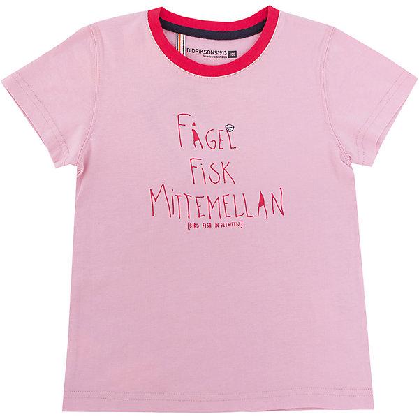 Футболка KRABBAN для девочки DIDRIKSONSФутболки, поло и топы<br>Детская футболка из органического хлопка, который обладает прекрасными абсорбирующими свойствами, мягкий и прятный на ощупь. Плоские швы не травмируют кожу, обеспечивают комфорт при использовании.<br>Состав:<br>100% хлопок<br><br>Ширина мм: 199<br>Глубина мм: 10<br>Высота мм: 161<br>Вес г: 151<br>Цвет: розовый<br>Возраст от месяцев: 96<br>Возраст до месяцев: 108<br>Пол: Женский<br>Возраст: Детский<br>Размер: 130,100,140,80,90,110,120<br>SKU: 5576831