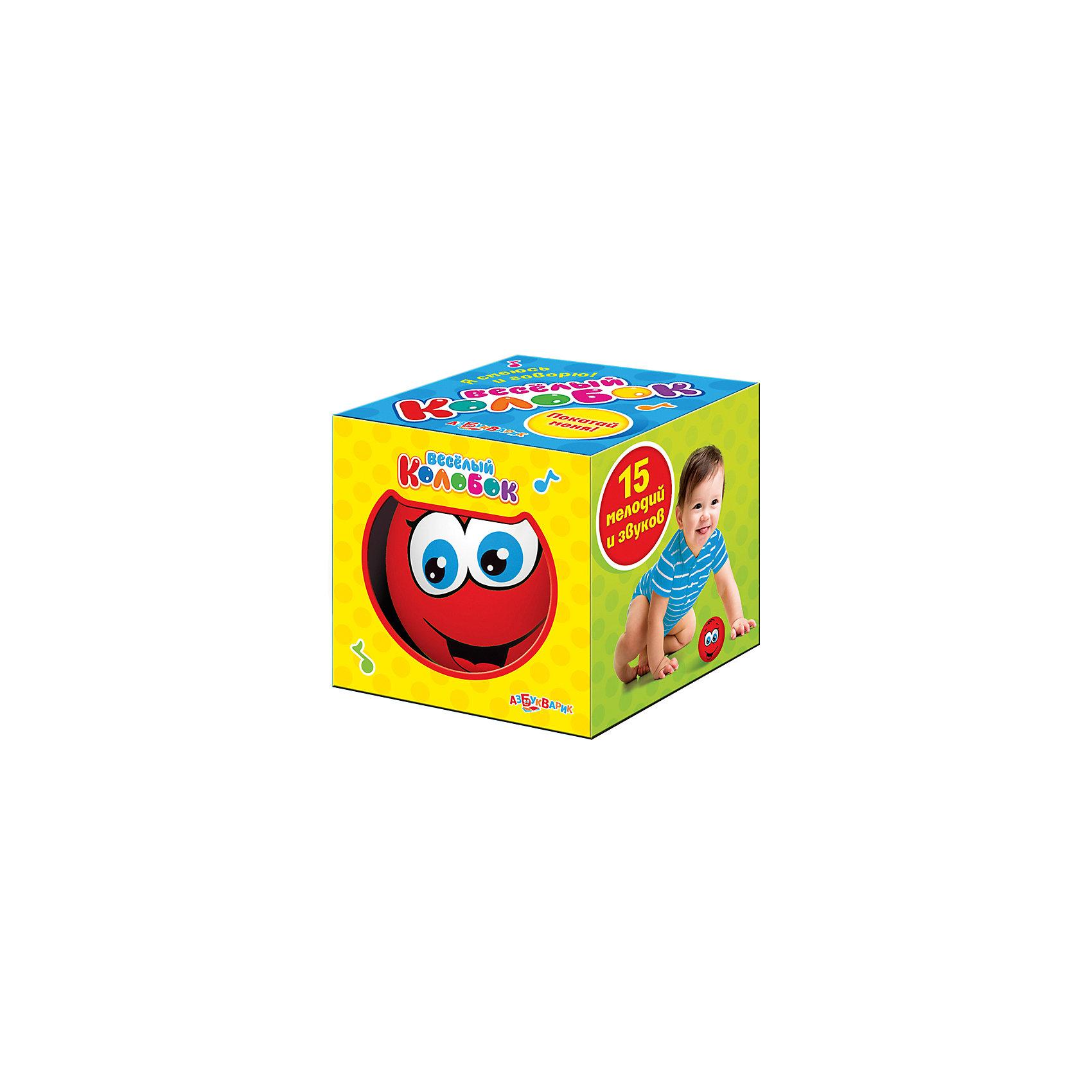 Музыкальная игрушка Веселый колобок, цвет красный, АзбукварикМузыкальные инструменты и игрушки<br>Электронная музыкальная игрушка из пластмассы<br><br>Ширина мм: 800<br>Глубина мм: 800<br>Высота мм: 80<br>Вес г: 125<br>Возраст от месяцев: 24<br>Возраст до месяцев: 48<br>Пол: Унисекс<br>Возраст: Детский<br>SKU: 5577790