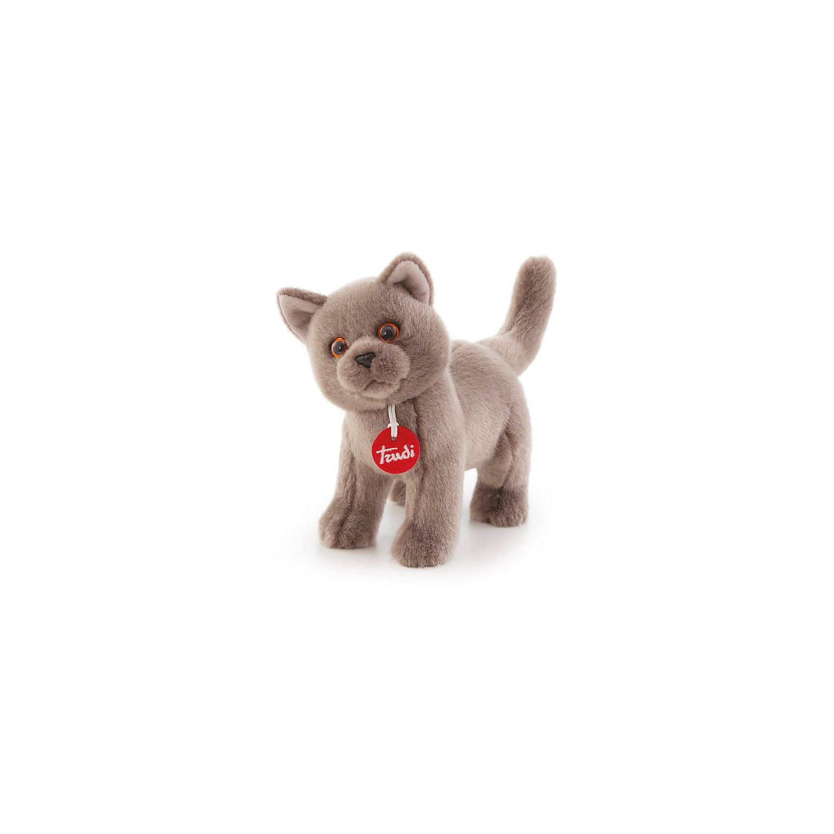 Серый кот Помпео, 29 см, TrudiКошки и собаки<br>Характеристики товара:<br><br>• возраст от 1 года;<br>• материал: искусственный мех, пластик;<br>• высота игрушки 29 см;<br>• размер упаковки 26х19х16 см;<br>• вес упаковки 137 гр.;<br>• страна производитель Китай.<br><br>Серый кот Помпео Trudi — мягкая игрушка для детей от 1 года в виде серого пушистого кота.. Она сделана из приятного на ощупь материала, малыш может обнимать ее и брать с собой спать в кроватку. В процессе игры у ребенка развиваются тактильные ощущения, воображение и фантазия. Игрушку можно стирать в стиральной машине при температуре 30 градусов. Изготовлена из качественного безвредного материала.<br><br>Серого кота Помпео Trudi 29 см можно приобрести в нашем интернет-магазине.<br><br>Ширина мм: 260<br>Глубина мм: 190<br>Высота мм: 160<br>Вес г: 136<br>Возраст от месяцев: 12<br>Возраст до месяцев: 2147483647<br>Пол: Унисекс<br>Возраст: Детский<br>SKU: 5578411