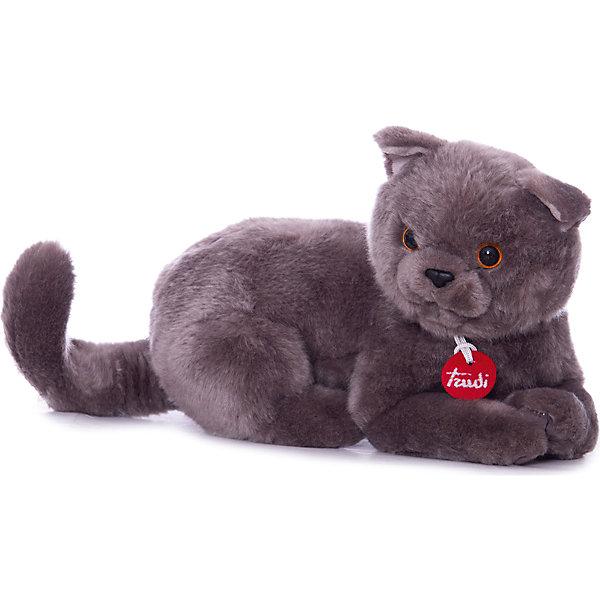 Серый кот Помпео, 38 см, лежачая, TrudiМягкие игрушки животные<br>Характеристики товара:<br><br>• возраст от 1 года;<br>• материал: искусственный мех, пластик;<br>• размер игрушки 38 см;<br>• размер упаковки 60х40х45 см;<br>• вес упаковки 265 гр.;<br>• страна производитель Китай.<br><br>Серый кот Помпео лежачий Trudi — мягкая игрушка для детей от 1 года в виде серого пушистого кота. Она сделана из приятного на ощупь материала, малыш может обнимать ее и брать с собой спать в кроватку. В процессе игры у ребенка развиваются тактильные ощущения, воображение и фантазия. Игрушку можно стирать в стиральной машине при температуре 30 градусов. Изготовлена из качественного безвредного материала.<br><br>Серого кота Помпео лежачего Trudi 38 см можно приобрести в нашем интернет-магазине.<br><br>Ширина мм: 600<br>Глубина мм: 400<br>Высота мм: 450<br>Вес г: 264<br>Возраст от месяцев: 12<br>Возраст до месяцев: 2147483647<br>Пол: Унисекс<br>Возраст: Детский<br>SKU: 5578412
