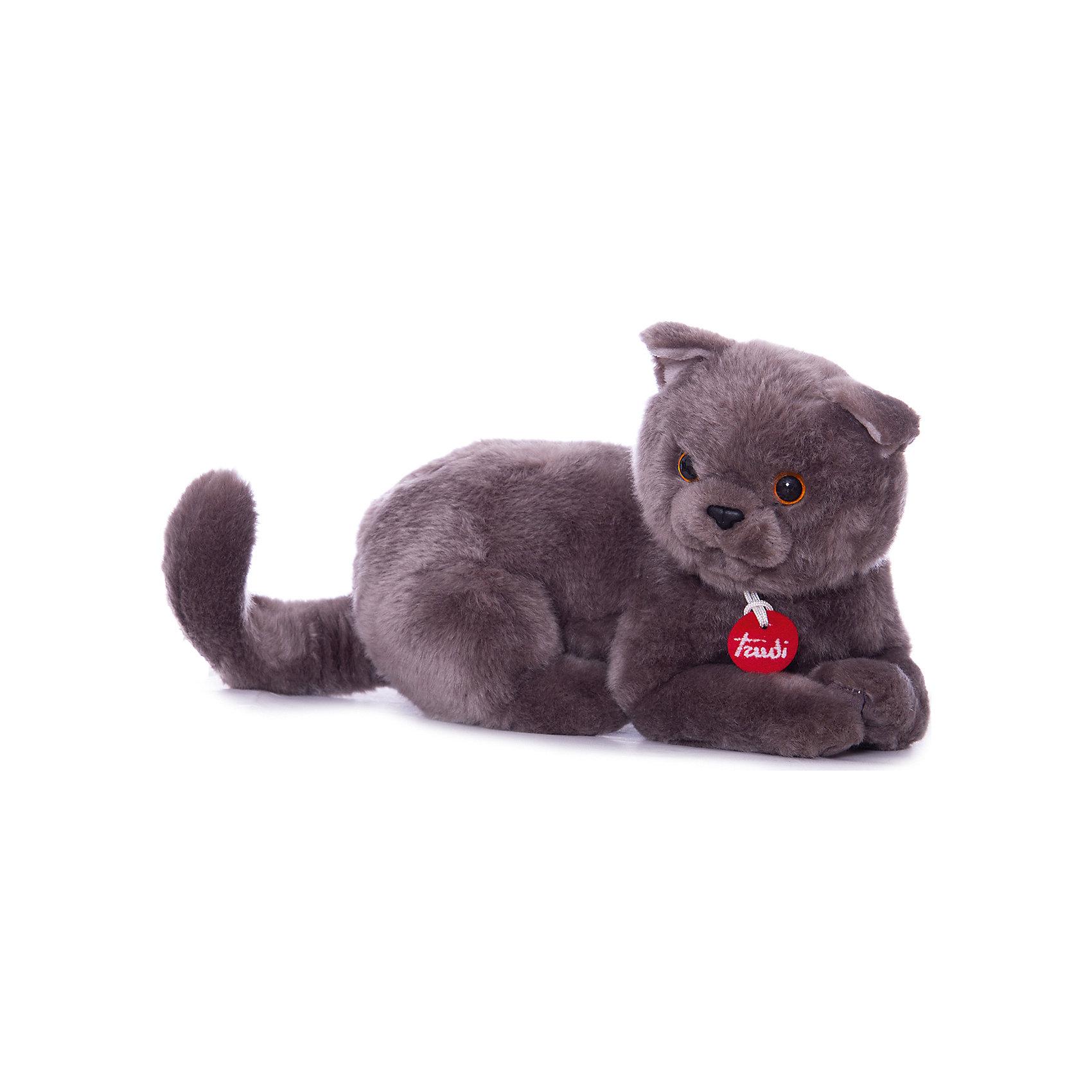 Серый кот Помпео, 38 см, лежачая, TrudiКошки и собаки<br>Характеристики товара:<br><br>• возраст от 1 года;<br>• материал: искусственный мех, пластик;<br>• размер игрушки 38 см;<br>• размер упаковки 60х40х45 см;<br>• вес упаковки 265 гр.;<br>• страна производитель Китай.<br><br>Серый кот Помпео лежачий Trudi — мягкая игрушка для детей от 1 года в виде серого пушистого кота. Она сделана из приятного на ощупь материала, малыш может обнимать ее и брать с собой спать в кроватку. В процессе игры у ребенка развиваются тактильные ощущения, воображение и фантазия. Игрушку можно стирать в стиральной машине при температуре 30 градусов. Изготовлена из качественного безвредного материала.<br><br>Серого кота Помпео лежачего Trudi 38 см можно приобрести в нашем интернет-магазине.<br><br>Ширина мм: 600<br>Глубина мм: 400<br>Высота мм: 450<br>Вес г: 264<br>Возраст от месяцев: 12<br>Возраст до месяцев: 2147483647<br>Пол: Унисекс<br>Возраст: Детский<br>SKU: 5578412