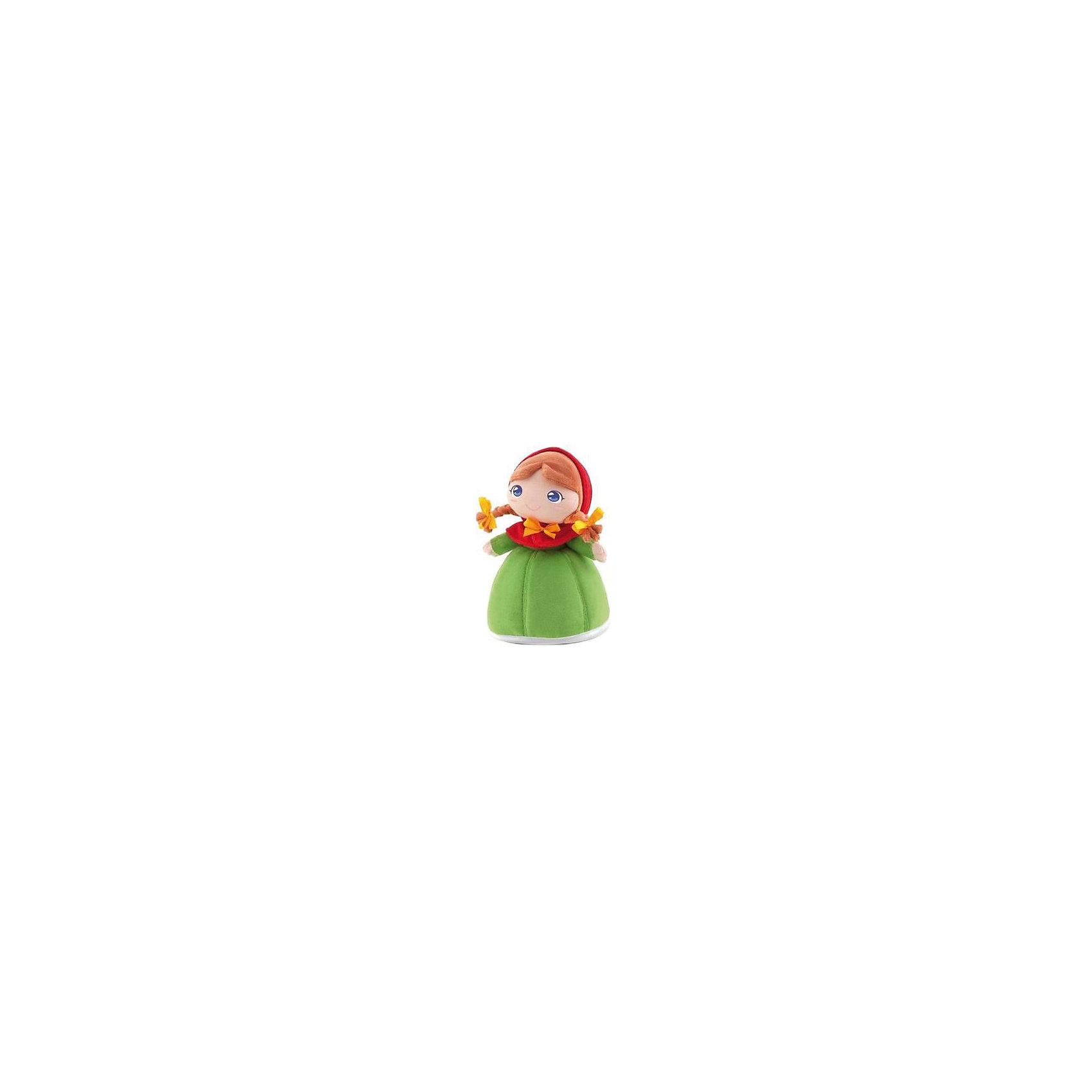 Мягкая кукла принцесса Розелла, 24 см, TrudiМягкие куклы<br>Характеристики товара:<br><br>• возраст с рождения;<br>• материал: плюш, текстиль, синтепон;<br>• высота игрушки 24 см;<br>• размер упаковки 26х19х12 см;<br>• вес упаковки 120 гр.;<br>• страна производитель Китай.<br><br>Мягкая кукла принцесса Розелла Trudi — улыбающаяся принцесса с большими голубыми глазками и двумя косичками с бантиками. Розелла одета в зеленое платье с красным капюшоном. В процессе игры девочка может придумывать с куколкой свои невероятные сюжеты и истории. Игрушка способствует развитию тактильных ощущений, воображения и фантазии. Кукла изготовлена из качественного материала, который не вызывает у детей аллергических реакций. Игрушку можно стирать в стиральной машине, она не выгорает и сохраняет форму.<br><br>Мягкую куклу принцесса Розелла Trudi можно приобрести в нашем интернет-магазине.<br><br>Ширина мм: 260<br>Глубина мм: 190<br>Высота мм: 120<br>Вес г: 120<br>Возраст от месяцев: -2147483648<br>Возраст до месяцев: 2147483647<br>Пол: Женский<br>Возраст: Детский<br>SKU: 5578413