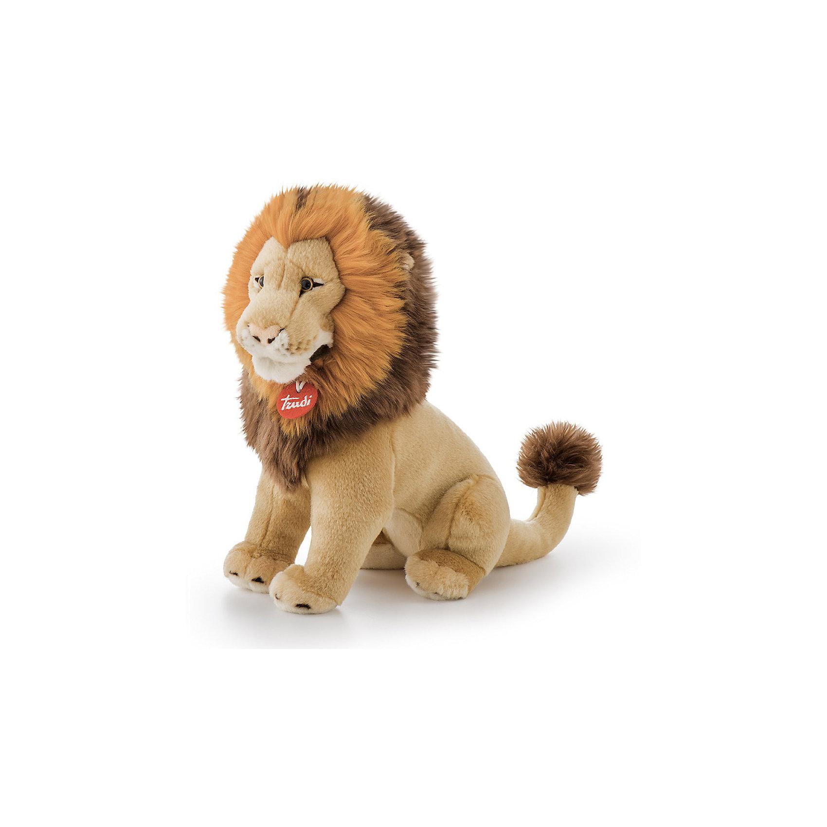 Лев Наполеон, 38 см, TrudiМягкие игрушки животные<br>Характеристики товара:<br><br>• возраст от 3 лет;<br>• материал: искусственный мех, плюш, пластик;<br>• высота игрушки 38 см;<br>• размер упаковки 22х15х38 см;<br>• вес упаковки 270 гр.;<br>• страна производитель Индонезия.<br><br>Лев Наполеон Trudi — настоящий серьезный царь зверей. У льва пышная пушистая грива и карие глазки. Ребенок может придумывать сюжеты для игры, истории или брать льва с собой спать в кроватку, так как игрушка мягкая и приятная на ощупь. Лев изготовлен из качественного безопасного материала.<br><br>Льва Наполеон Trudi можно приобрести в нашем интернет-магазине.<br><br>Ширина мм: 220<br>Глубина мм: 150<br>Высота мм: 380<br>Вес г: 270<br>Возраст от месяцев: 36<br>Возраст до месяцев: 2147483647<br>Пол: Унисекс<br>Возраст: Детский<br>SKU: 5578416