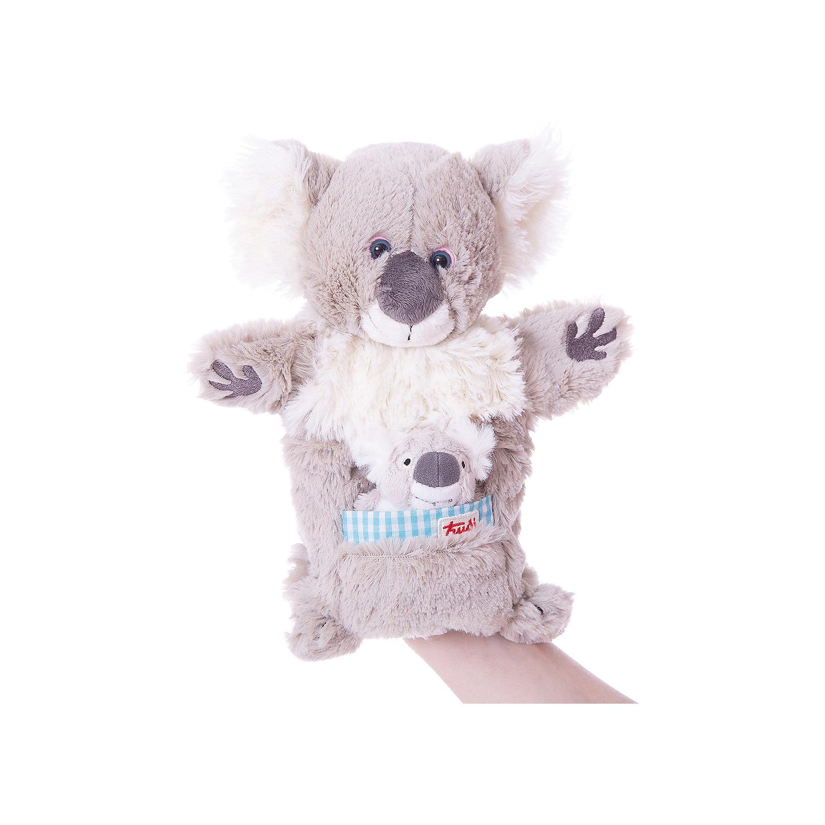 Мягкая игрушка на руку Коала с детенышем, 28 см, TrudiМягкие игрушки животные<br>Характеристики товара:<br><br>• возраст от 1 года;<br>• материал: плюш, пластик;<br>• высота игрушки 28 см;<br>• размер упаковки 28х23х8 см;<br>• вес упаковки 80 гр.;<br>• страна производитель Китай.<br><br>Мягкая игрушка на руку Коала с детенышем Trudi — оригинальная мягкая игрушка, которая позволит детям устроить настоящие сценки и спектакли. Надевая игрушку на руку, можно придумывать истории и сюжеты, ставить театральные представления. Игрушка способствует развитию тактильных ощущений, воображения, творческих способностей. Коала изготовлена из мягкого экологически чистого материала, который не вызывает у детей аллергических реакций. Игрушка стирается в стиральной машине в режиме деликатной стирки.<br><br>Мягкую игрушку на руку Коала с детенышем Trudi можно приобрести в нашем интернет-магазине.<br><br>Ширина мм: 80<br>Глубина мм: 280<br>Высота мм: 230<br>Вес г: 90<br>Возраст от месяцев: 12<br>Возраст до месяцев: 2147483647<br>Пол: Унисекс<br>Возраст: Детский<br>SKU: 5578419