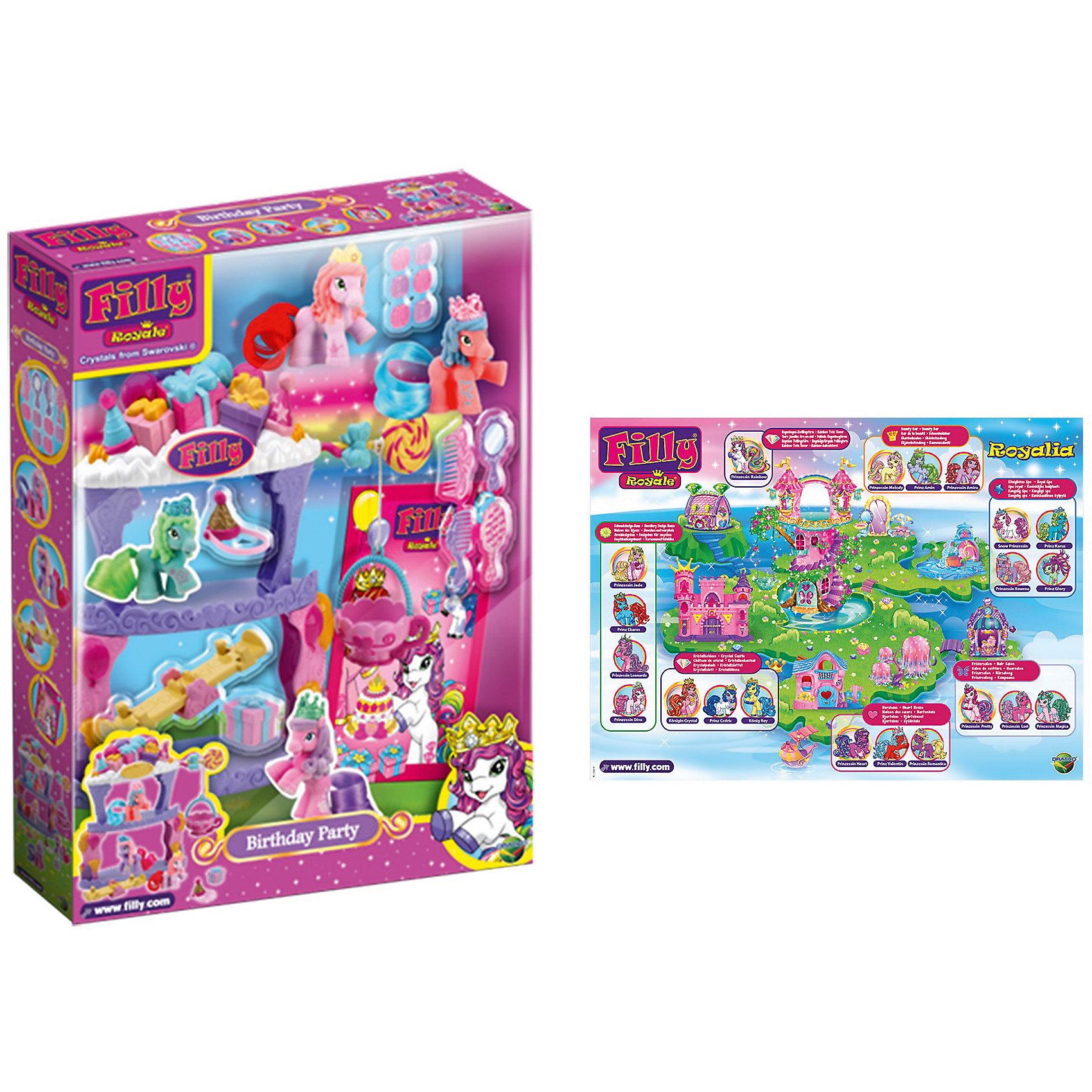 Игровой набор Королевские Filly «День рождения», DraccoСюжетно-ролевые игры<br>Характеристики товара:<br><br>• возраст от 3 лет;<br>• материал: пластик;<br>• в наборе: лошадка, качели, расчески, подарочные коробочки;<br>• размер упаковки 26,5х36,5х5,6 см;<br>• вес упаковки 500 гр.;<br>• страна производитель Китай.<br><br>Игровой набор «Королевские Filly. День рождения» Dracco создан по мотивам известного мультфильма про лошадок Филли и обязательно понравится его поклоннице. У лошадки Филли день рождения, поэтому ее ждут очаровательные подарки на ее праздник. Весело провести время лошадка может, катаясь на качелях. У лошадки пышный хвостик, который можно расчесывать и заплетать.<br><br>Игровой набор «Королевские Filly. День рождения» Dracco можно приобрести в нашем интернет-магазине.<br><br>Ширина мм: 265<br>Глубина мм: 56<br>Высота мм: 365<br>Вес г: 500<br>Возраст от месяцев: 36<br>Возраст до месяцев: 2147483647<br>Пол: Женский<br>Возраст: Детский<br>SKU: 5578427