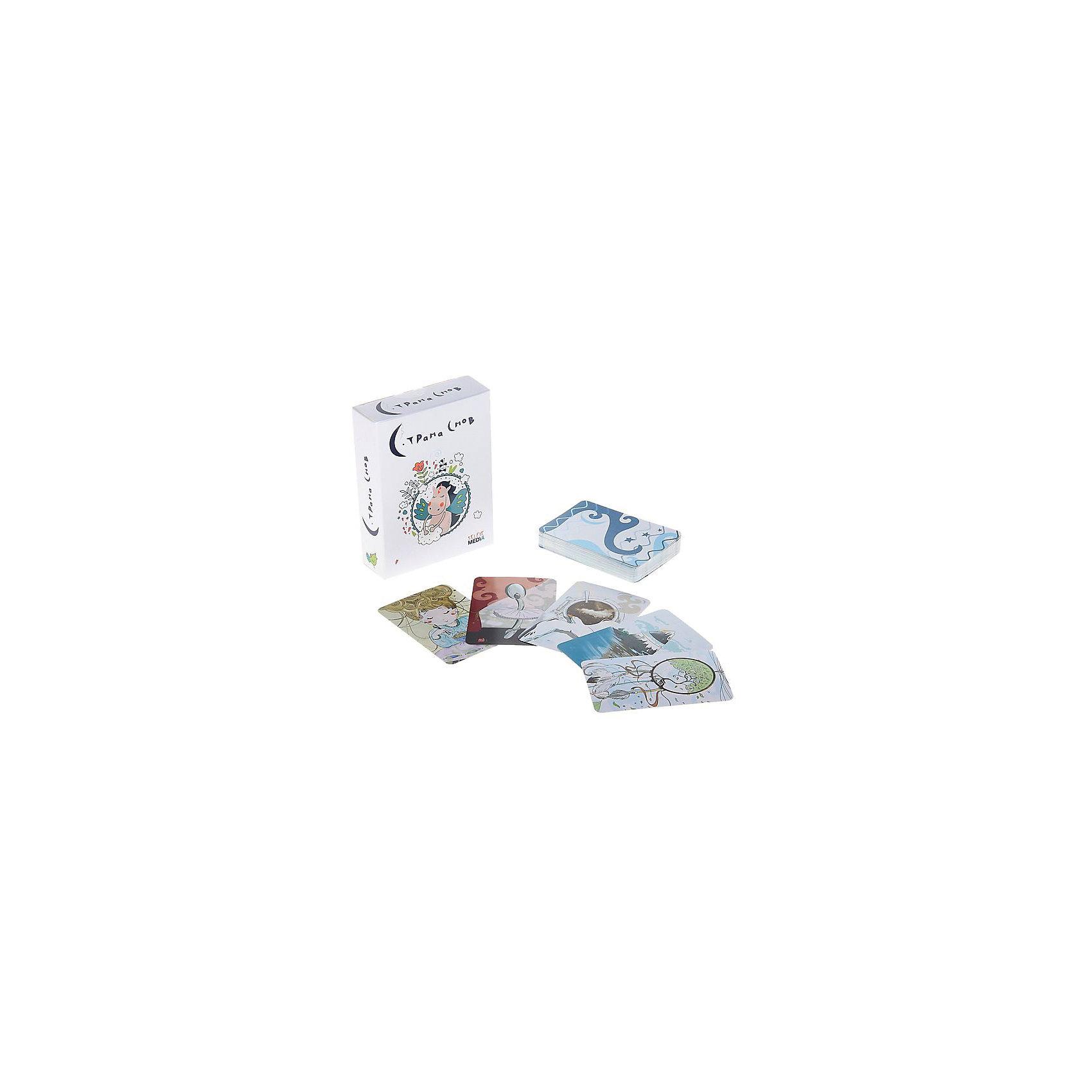Настольная игра «Страна Снов», Selfie mediaНастольные игры для всей семьи<br>Характеристики товара:<br><br>• возраст от 7 лет;<br>• материал: картон;<br>• количество игроков: 2-6<br>• продолжительность игры: 20 минут и более<br>• в наборе: 46 карточек, карта «ловец снов», инструкция;<br>• размер упаковки 12х9,2х3,5 см;<br>• вес упаковки 90 гр.;<br>• страна производитель Россия.<br><br>Настольная игра «Страна снов» Selfie media — увлекательная игра для детей от 7 лет, которая позволит весело провести время в компании друзей или в кругу семьи. Часть карточек раскладывается на поверхности картинкой наверх, другая часть карточек, наоборот, картинкой вниз. Ведущий выбирает одну карточку и рассказывает свой сон остальным, фантазируя, придумывая оригинальные истории. Остальные участники должны найти карточку, которая олицетворяет сон ведущего. Игра тренирует воображение, фантази, смекалку и сообразительность. <br><br>Настольную игру «Страна снов» Selfie media можно приобрести в нашем интернет-магазине.<br><br>Ширина мм: 35<br>Глубина мм: 92<br>Высота мм: 120<br>Вес г: 90<br>Возраст от месяцев: 84<br>Возраст до месяцев: 2147483647<br>Пол: Унисекс<br>Возраст: Детский<br>SKU: 5578429