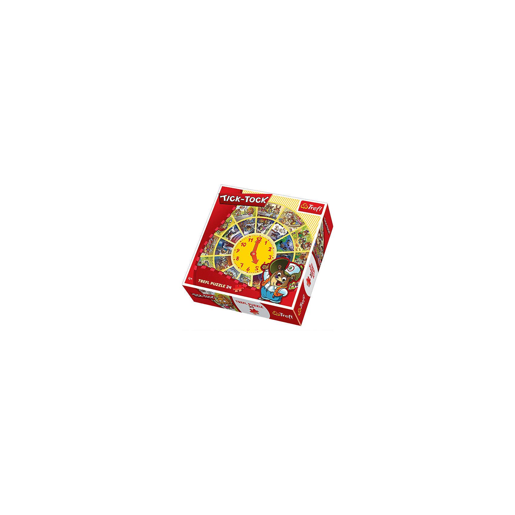 Пазл круглый Тик-так, 24 детали, TreflПазлы для малышей<br>Характеристики товара:<br><br>• возраст от 4 лет;<br>• материал: картон;<br>• в наборе: 24 элемента;<br>• размер упаковки 28х28х6,2 см;<br>• вес упаковки 660 гр.;<br>• страна производитель Польша.<br><br>Пазл круглый «Тик-так» Trefl — развивающий пазл, выполненный в форме часов. Собирая пазл, у ребенка не только развиваются логическое мышление, усидчивость, но он сможет выучить цифры, познакомиться с устройством часов, узнать все о времени и распорядке дня. К каждому часу относится определенное занятие забавного мишки Тедди.<br><br>Пазл круглый «Тик-так» Trefl можно приобрести в нашем интернет-магазине.<br><br>Ширина мм: 280<br>Глубина мм: 280<br>Высота мм: 62<br>Вес г: 660<br>Возраст от месяцев: 48<br>Возраст до месяцев: 2147483647<br>Пол: Унисекс<br>Возраст: Детский<br>SKU: 5578452