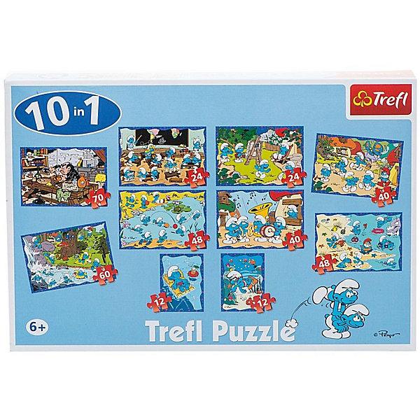 Набор пазлов 10 в 1 Веселые Смурфы, TreflПазлы для малышей<br>Характеристики товара:<br><br>• возраст от 6 лет;<br>• материал: картон;<br>• в наборе: 2 пазла по 12 элементов, 2 пазла по 24 элемента, 2 пазла по 40 элементов,  2 пазла по 48 элементов, 1 пазл на 60 элементов, 1 пазл на 70 элементов;<br>• размер упаковки 26,6х39,8х9 см;<br>• вес упаковки 1,95 кг;<br>• страна производитель Польша.<br><br>Набор пазлов 10 в 1 «Веселые Смурфи» Trefl создан по мотивам известного мультфильма «Смурфики». В наборе целых 10 пазлов различного уровня сложности о приключениях любимых персонажей. Собирая пазл, у ребенка развиваются логическое мышление, внимательность к деталям, усидчивость. Все элементы выполнены из качественных материалов со специальным стойким покрытием.<br><br>Набор пазлов 10 в 1 «Веселые Смурфи» Trefl можно приобрести в нашем интернет-магазине.<br><br>Ширина мм: 266<br>Глубина мм: 398<br>Высота мм: 90<br>Вес г: 1950<br>Возраст от месяцев: 72<br>Возраст до месяцев: 2147483647<br>Пол: Унисекс<br>Возраст: Детский<br>SKU: 5578454